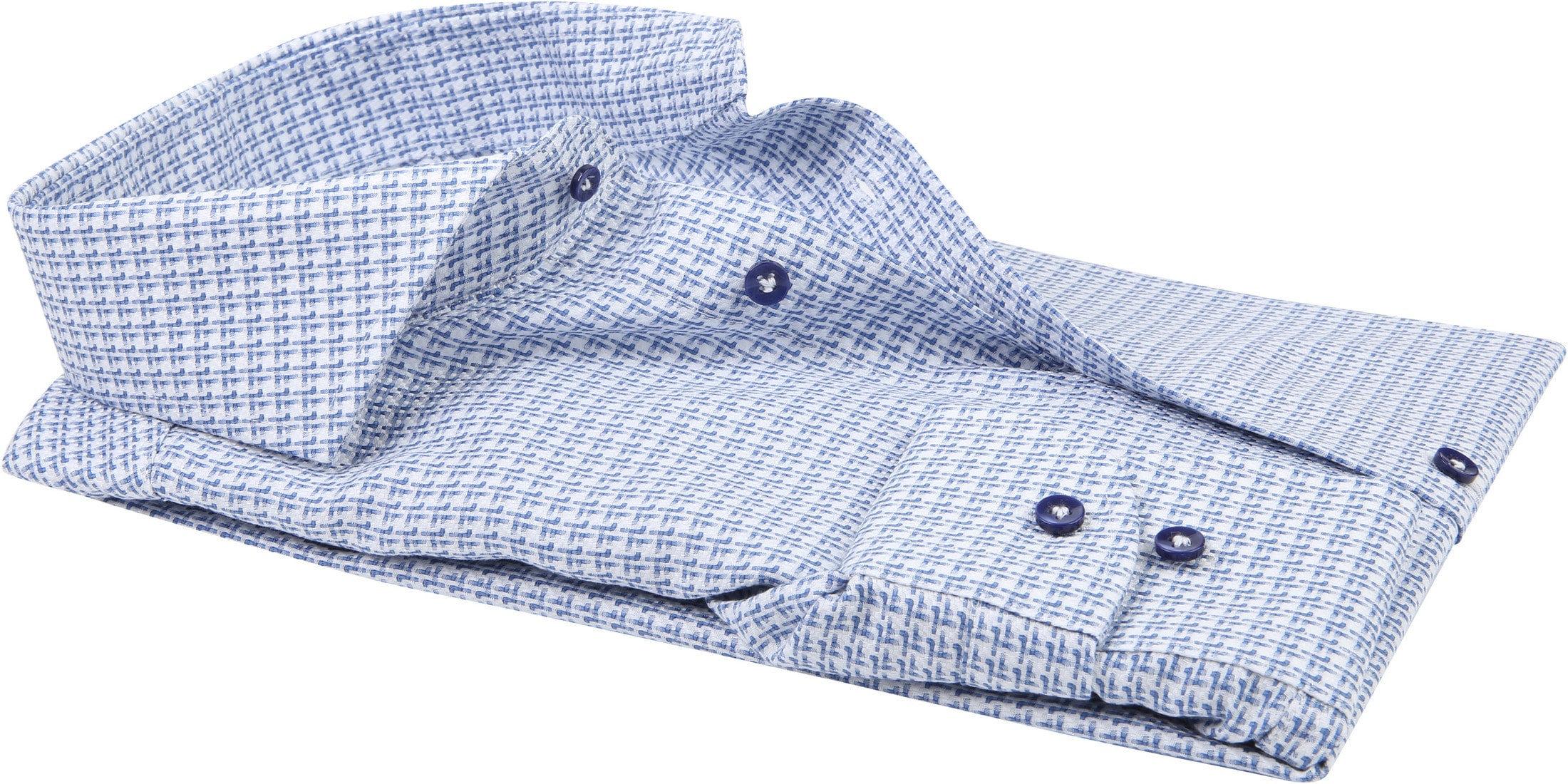 Profuomo Overhemd CAW Dessin Blauw foto 2