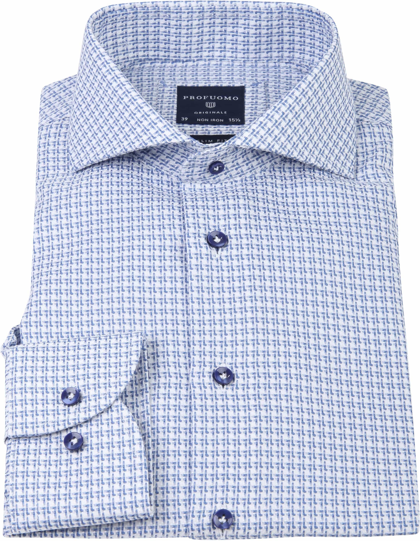Profuomo Overhemd CAW Dessin Blauw foto 3