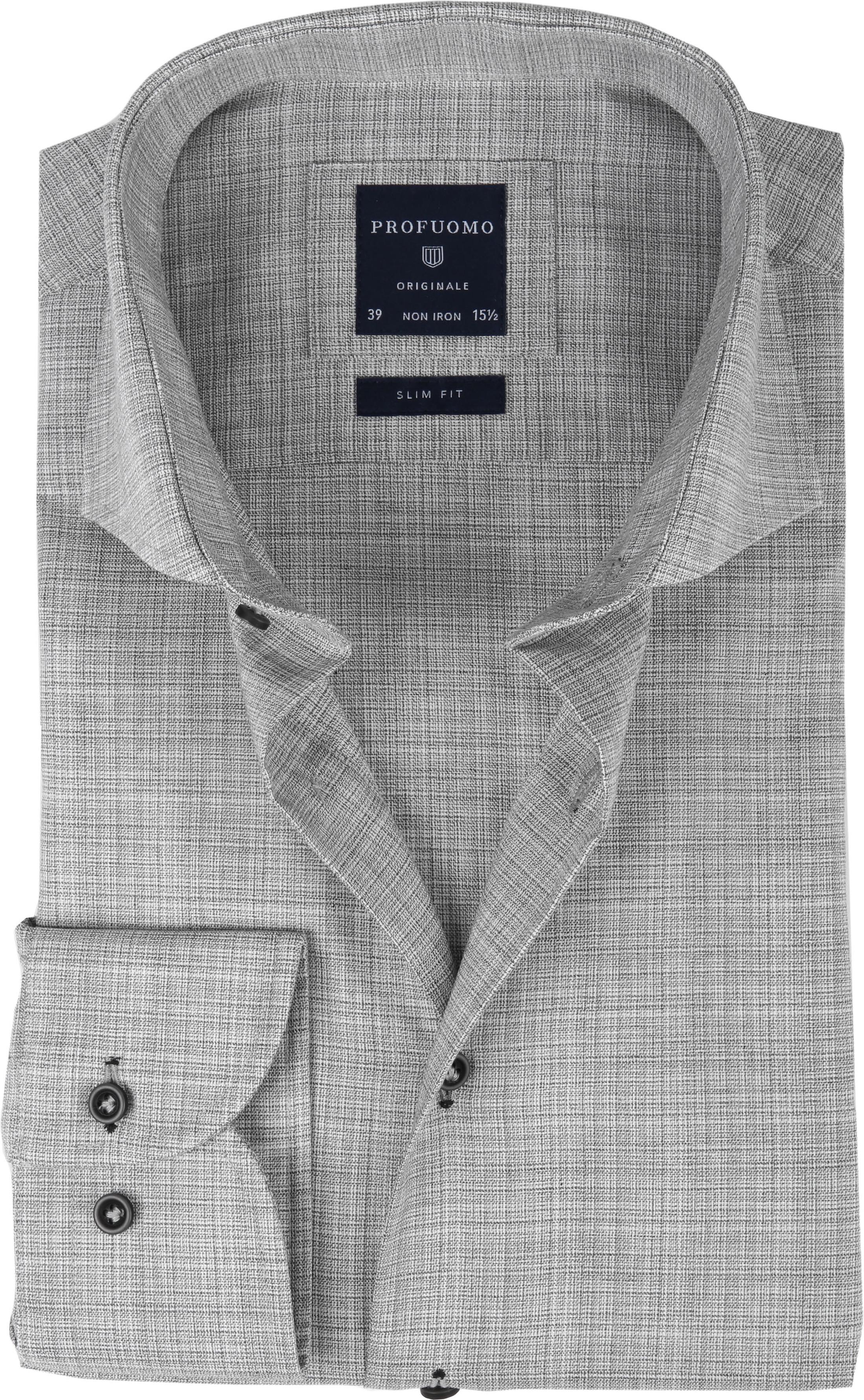 Profuomo Overhemd CAW Melange Grijs foto 0