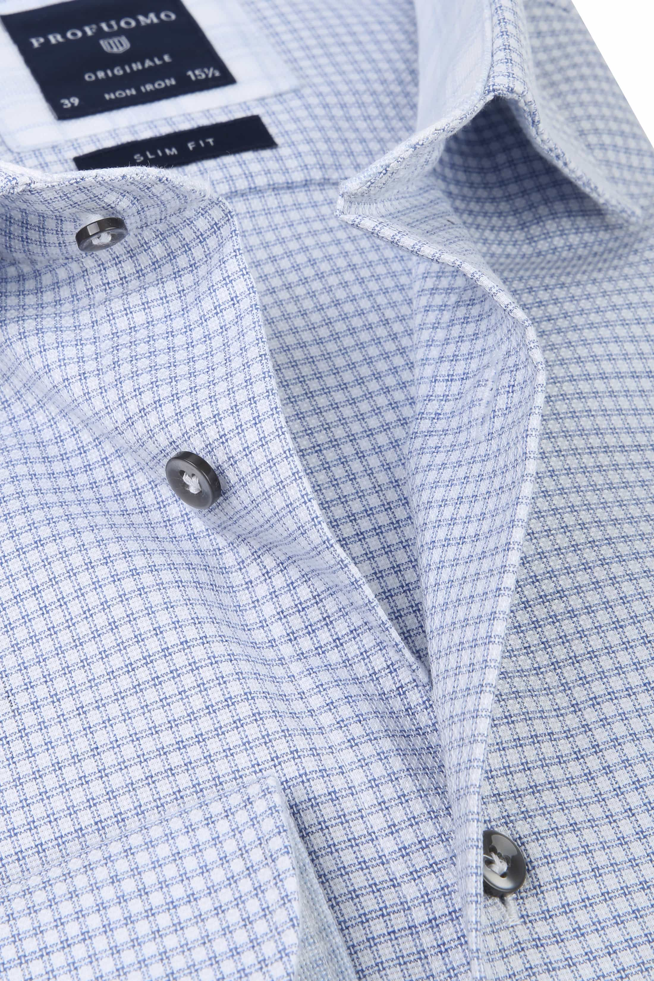 Profuomo Overhemd CAW Ruit Blauw foto 1