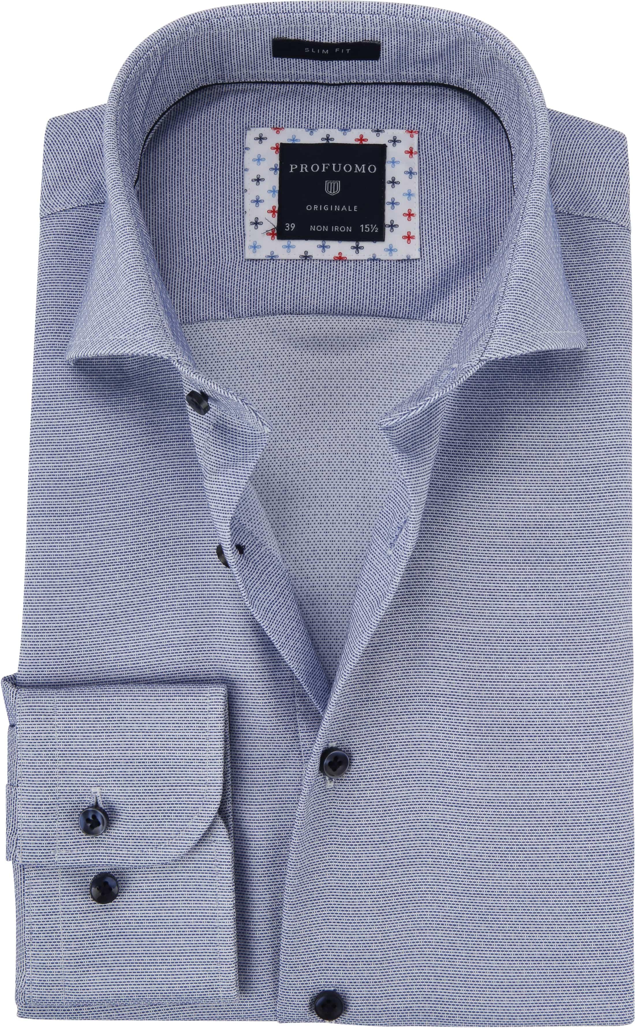 Profuomo Overhemd Dobby Blauw foto 0