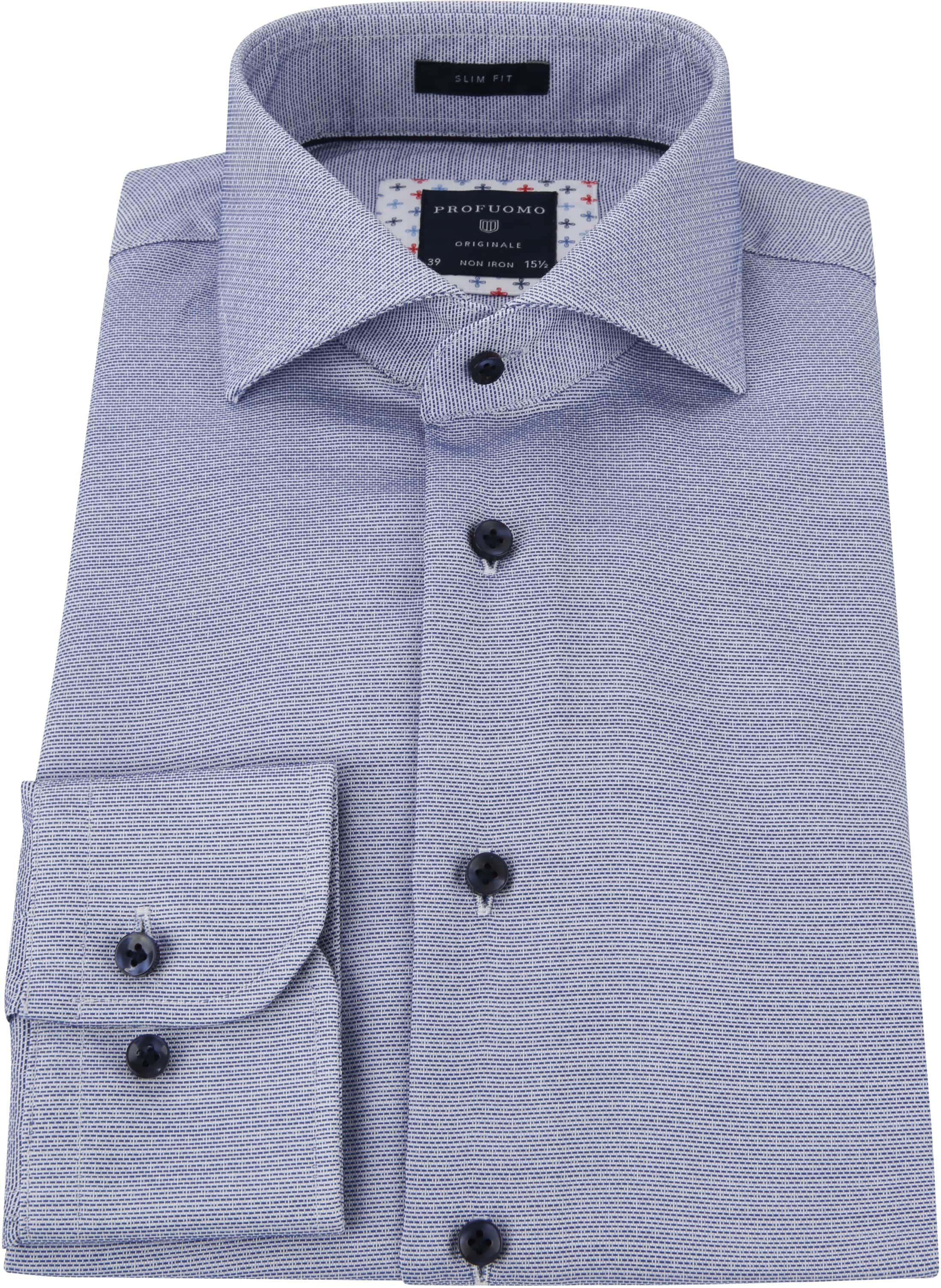 Profuomo Overhemd Dobby Blauw foto 3