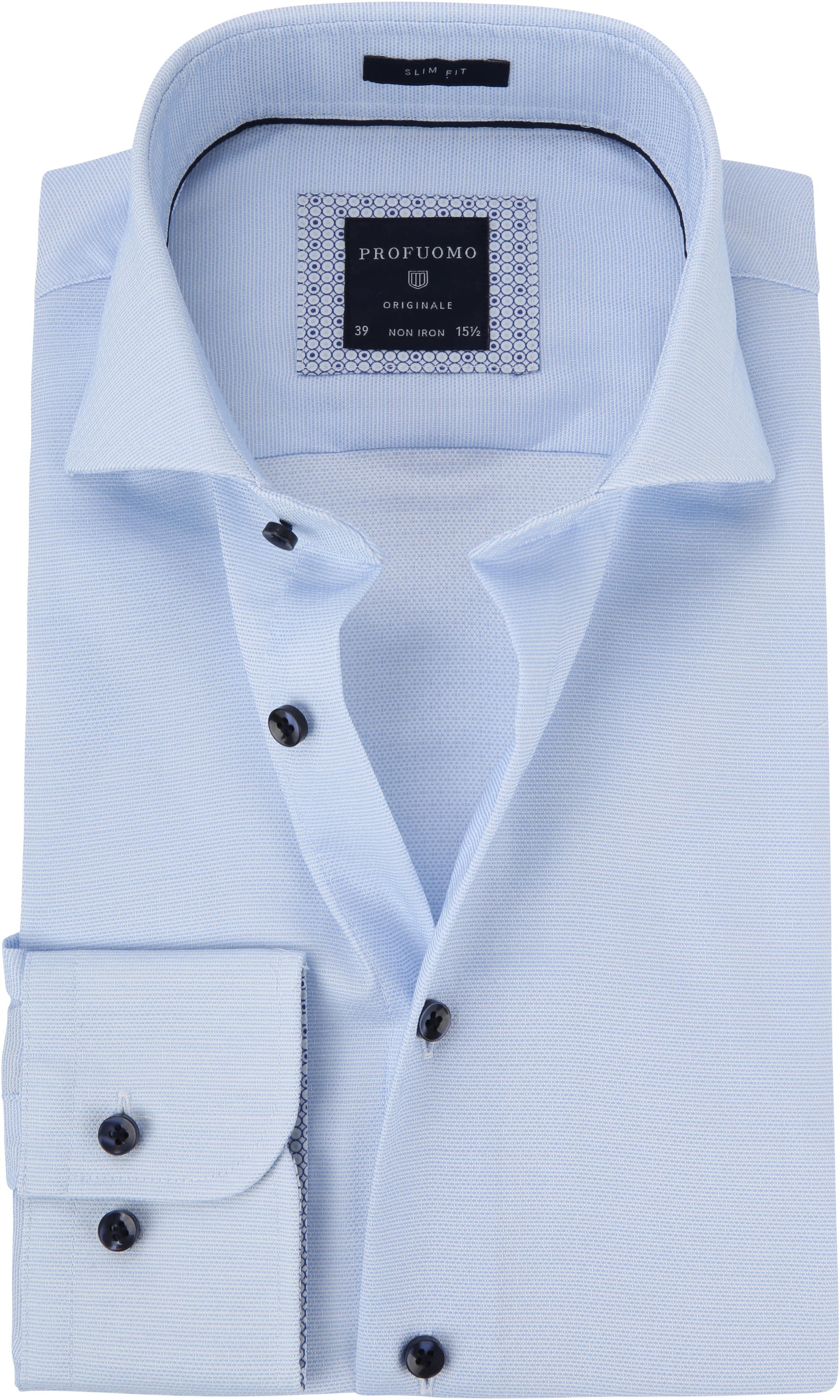 Profuomo Overhemd Dobby Lichtblauw foto 0