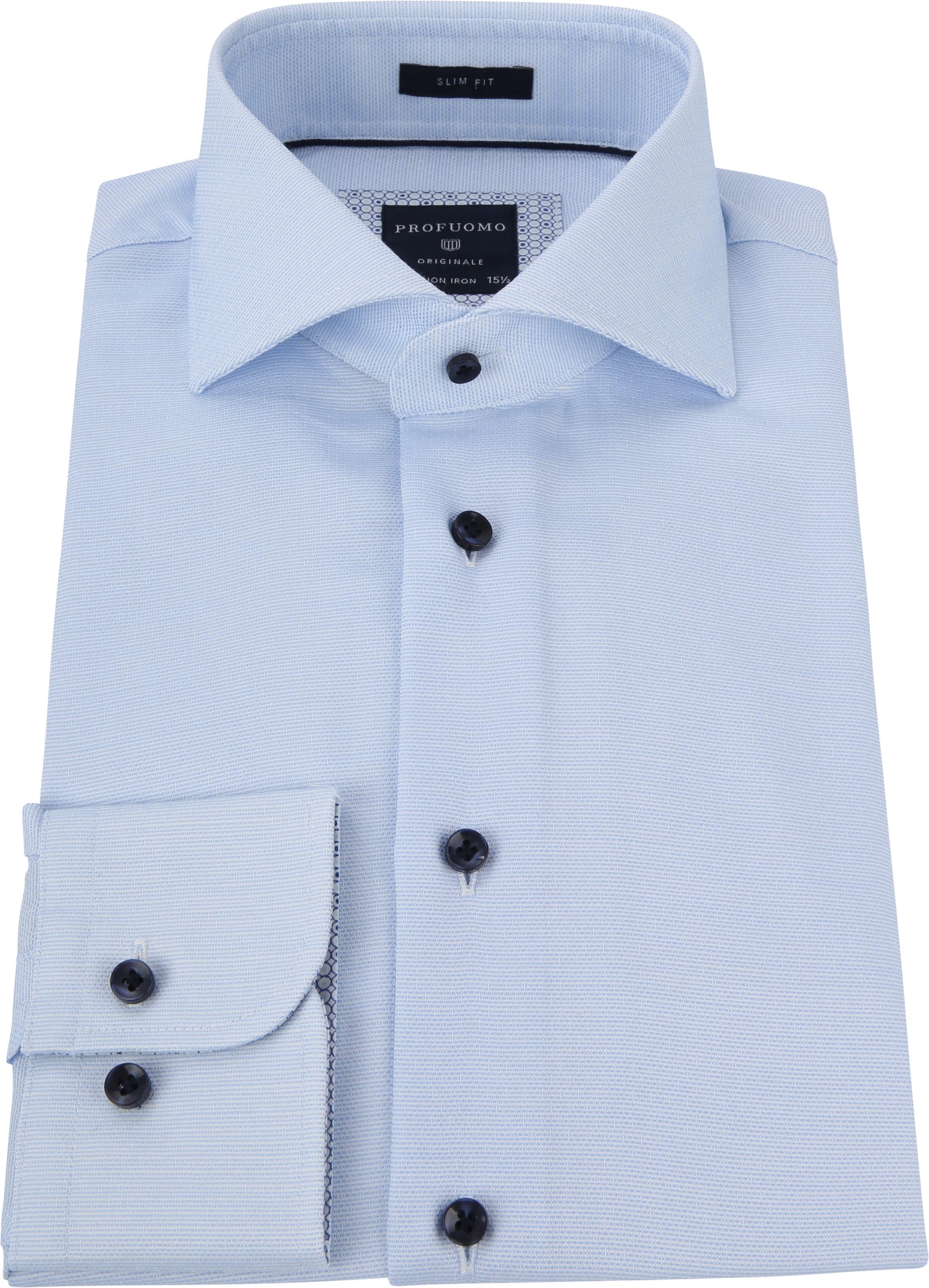 Profuomo Overhemd Dobby Lichtblauw foto 3
