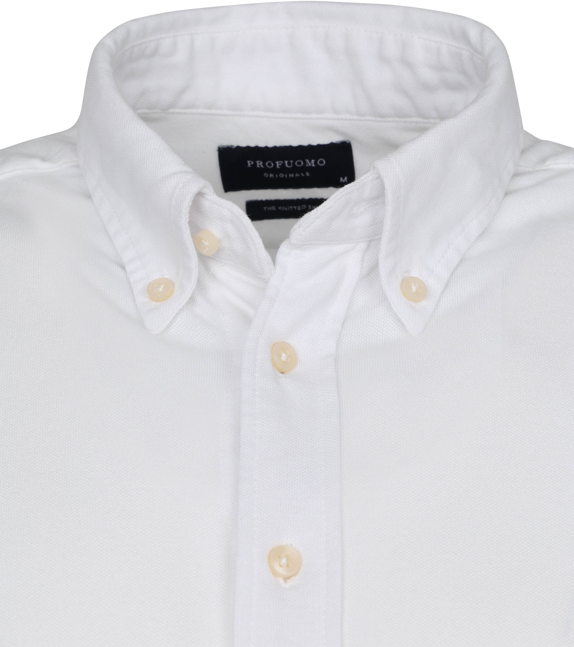Profuomo Overhemd Garment Dyed Button Down Wit