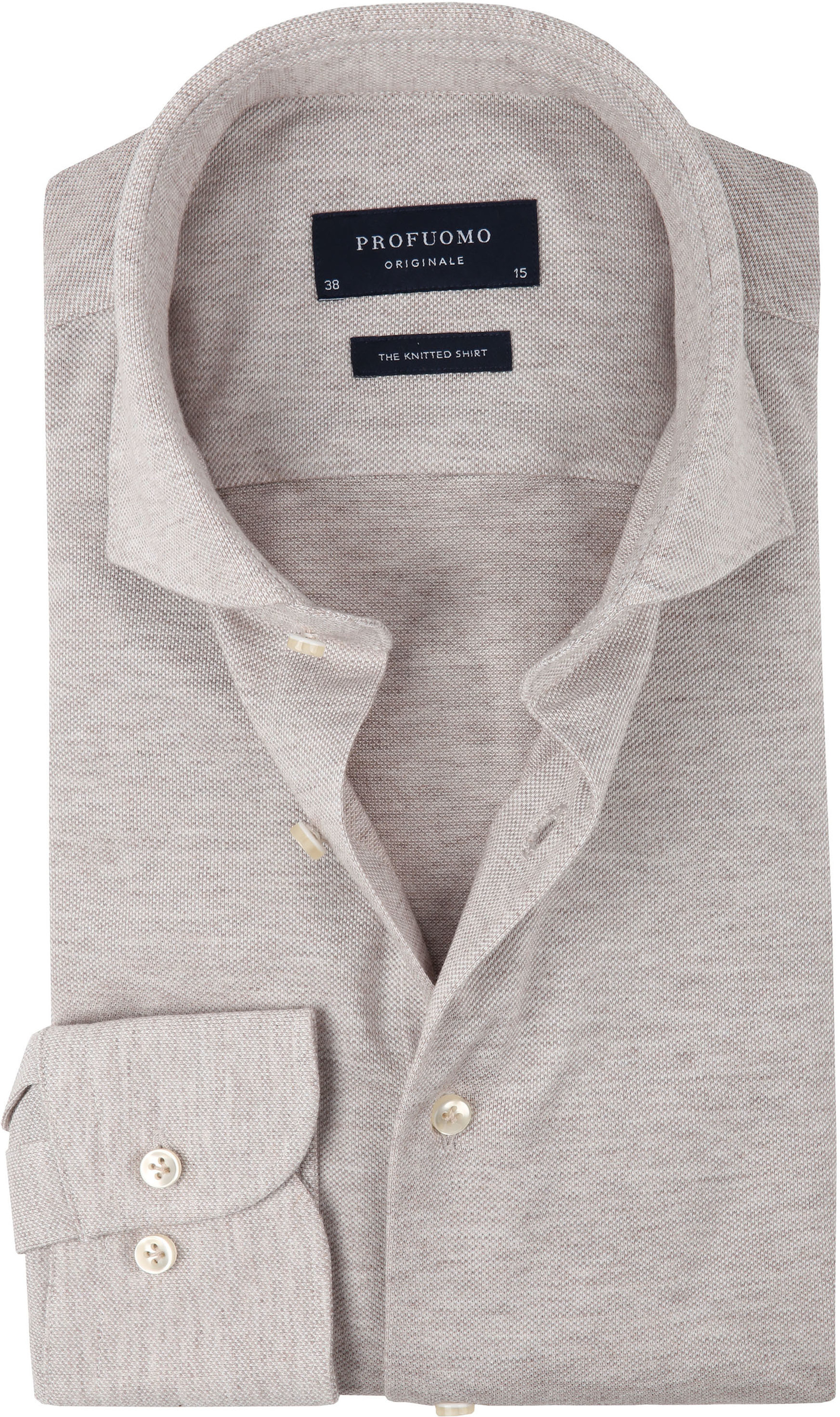 Profuomo Overhemd Knitted Beige