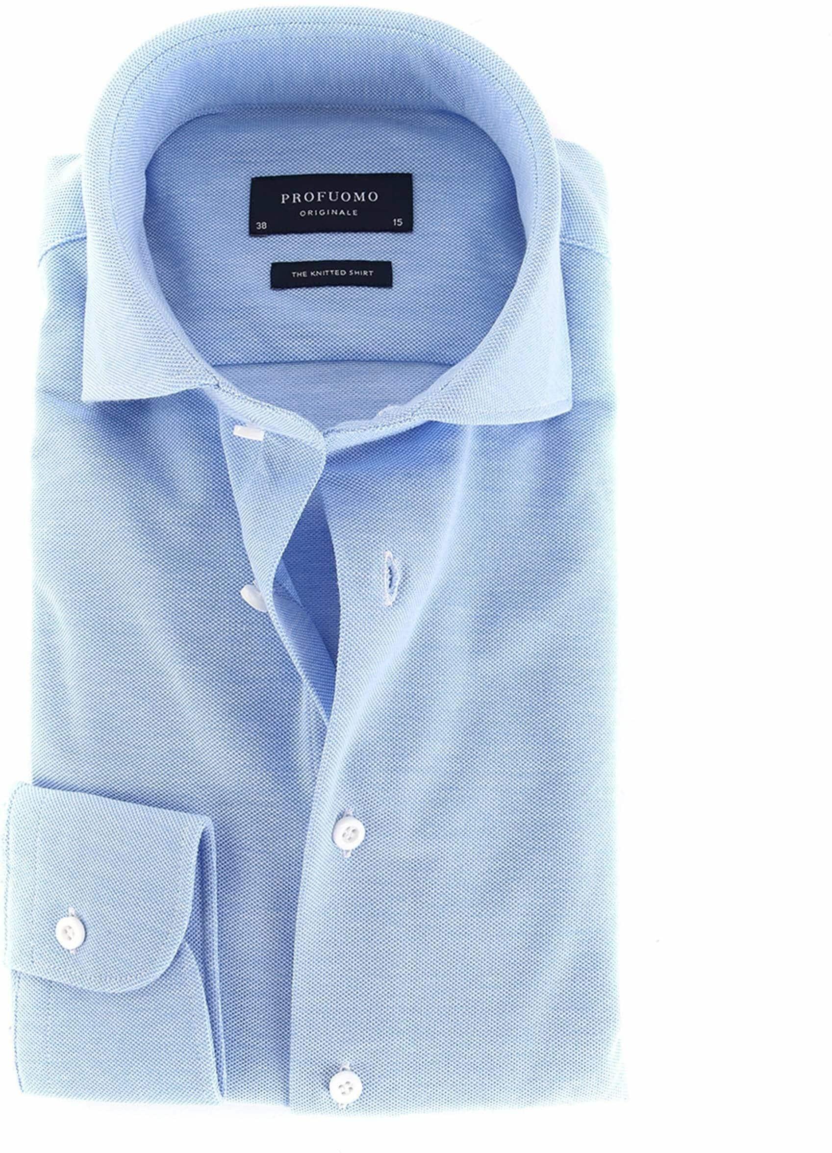 Profuomo Overhemd Knitted Blauw €79.95Meer maten beschikbaar