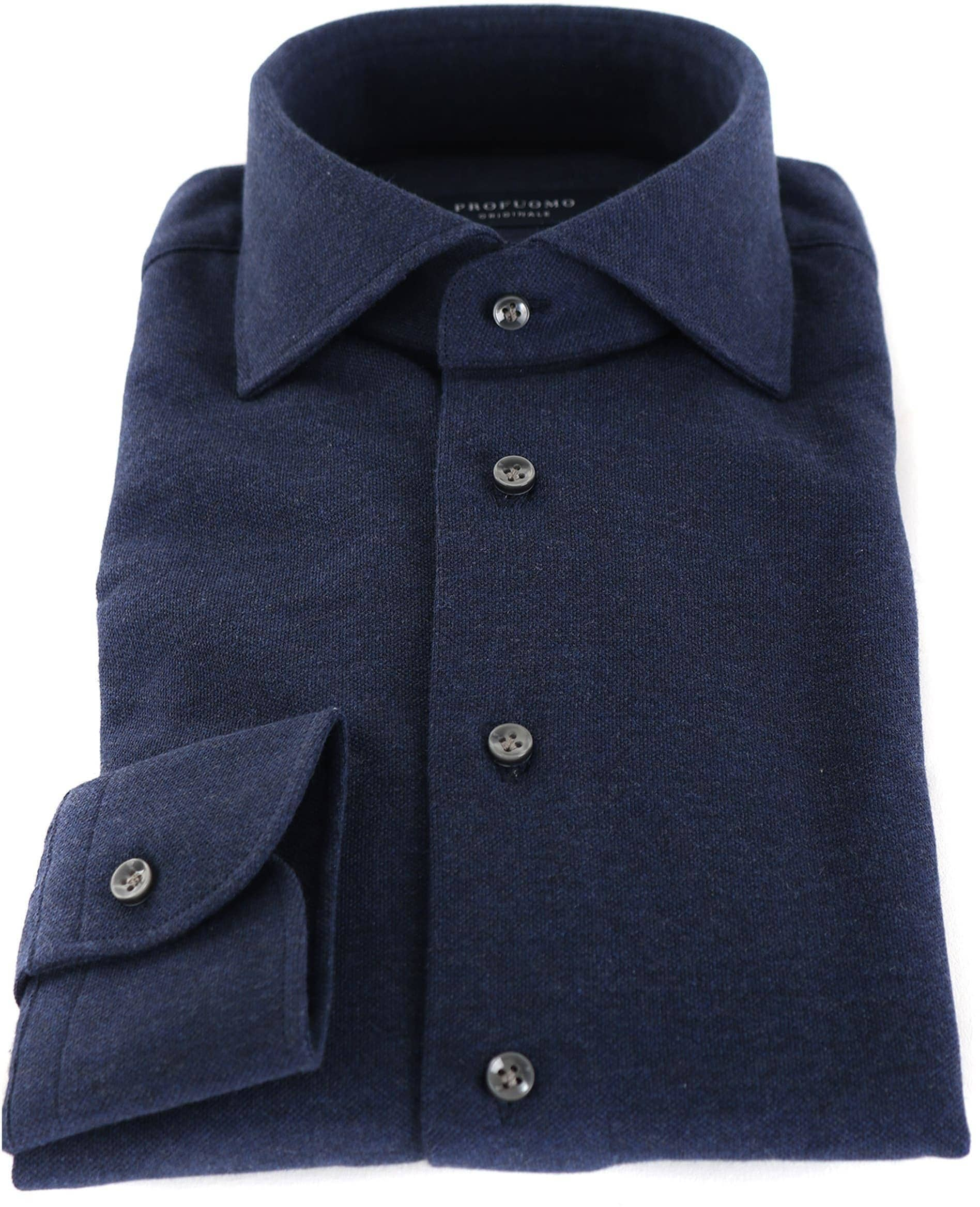 Profuomo Overhemd Knitted Donkerblauw foto 1