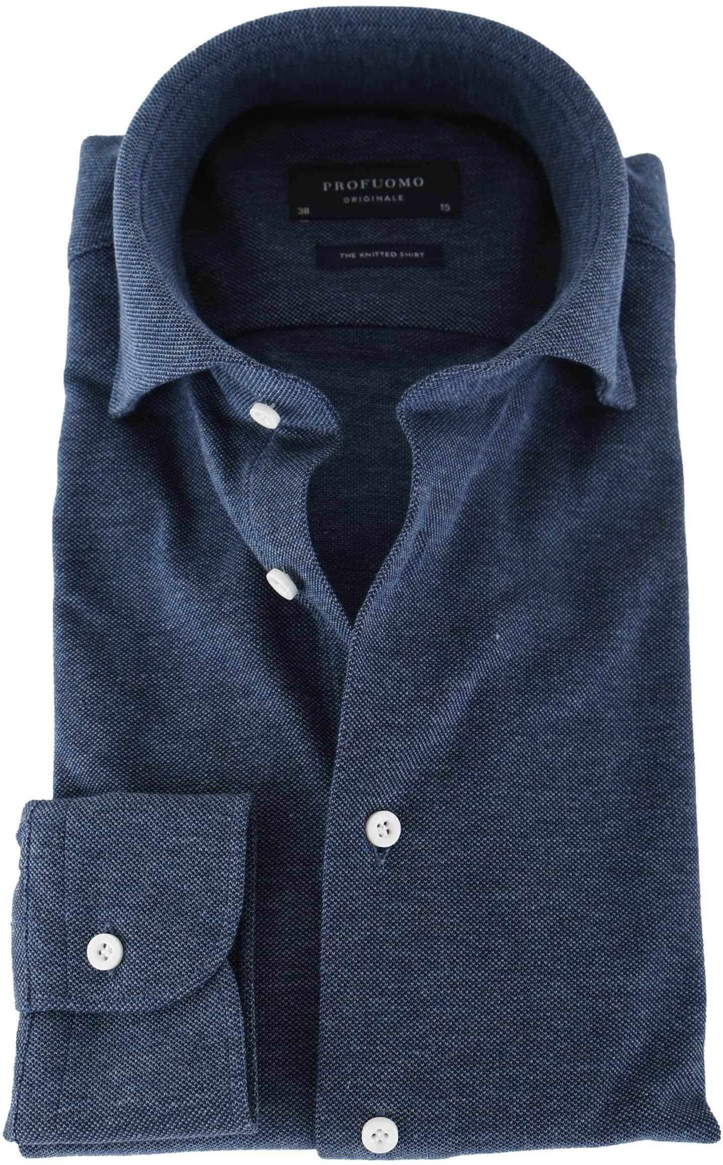 Profuomo Overhemd Knitted Indigoblauw foto 0