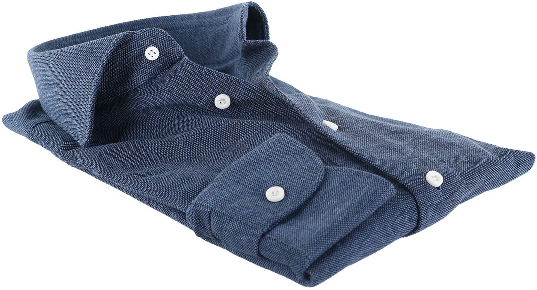 Profuomo Overhemd Knitted Indigoblauw foto 2