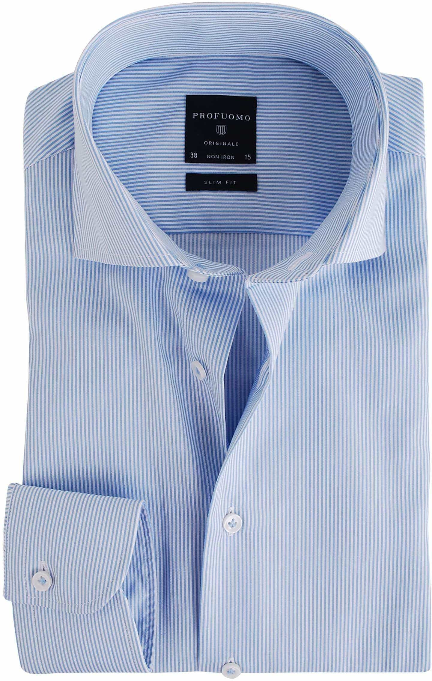 Profuomo Overhemd Lichtblauw Gestreept foto 0