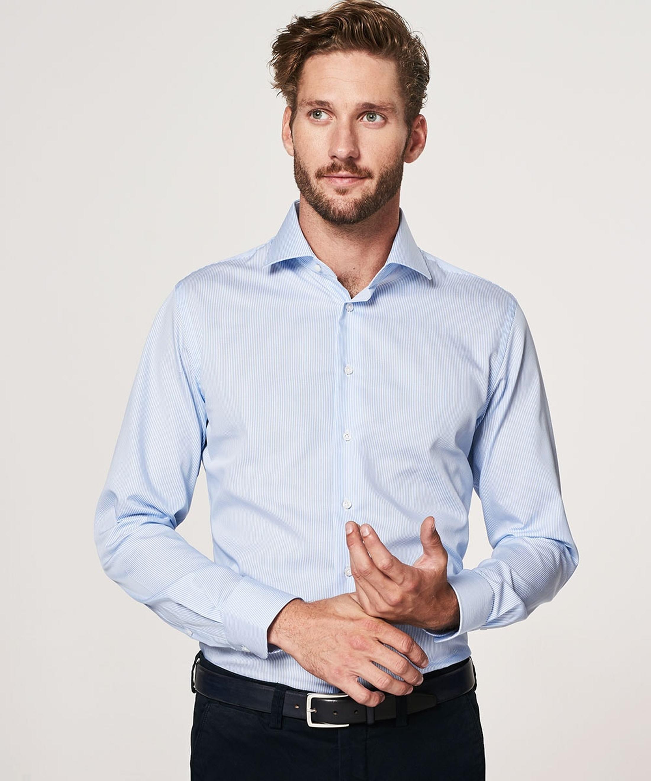 Profuomo Overhemd Lichtblauw Gestreept foto 3