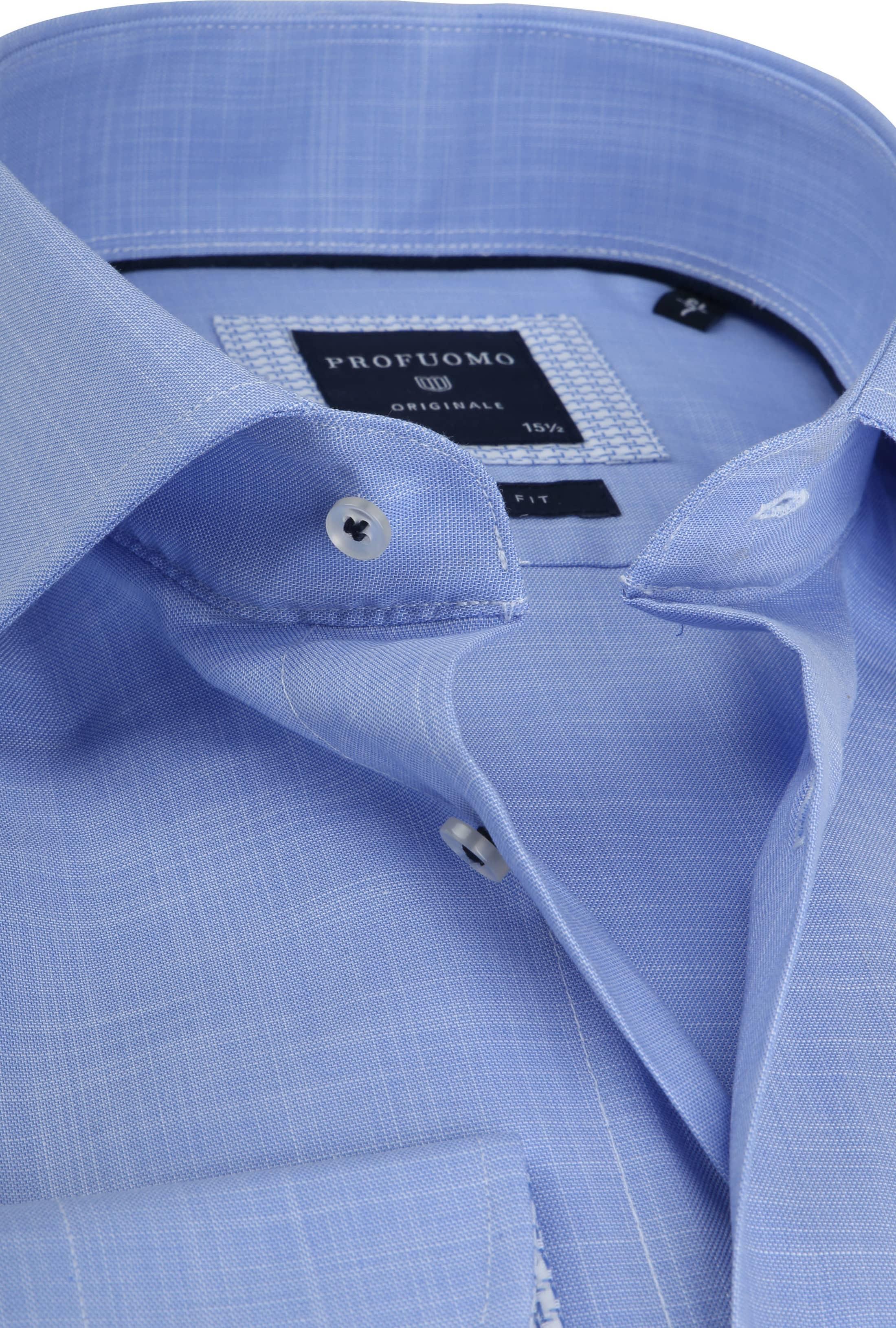Profuomo Overhemd Melange Blauw SL7 foto 1