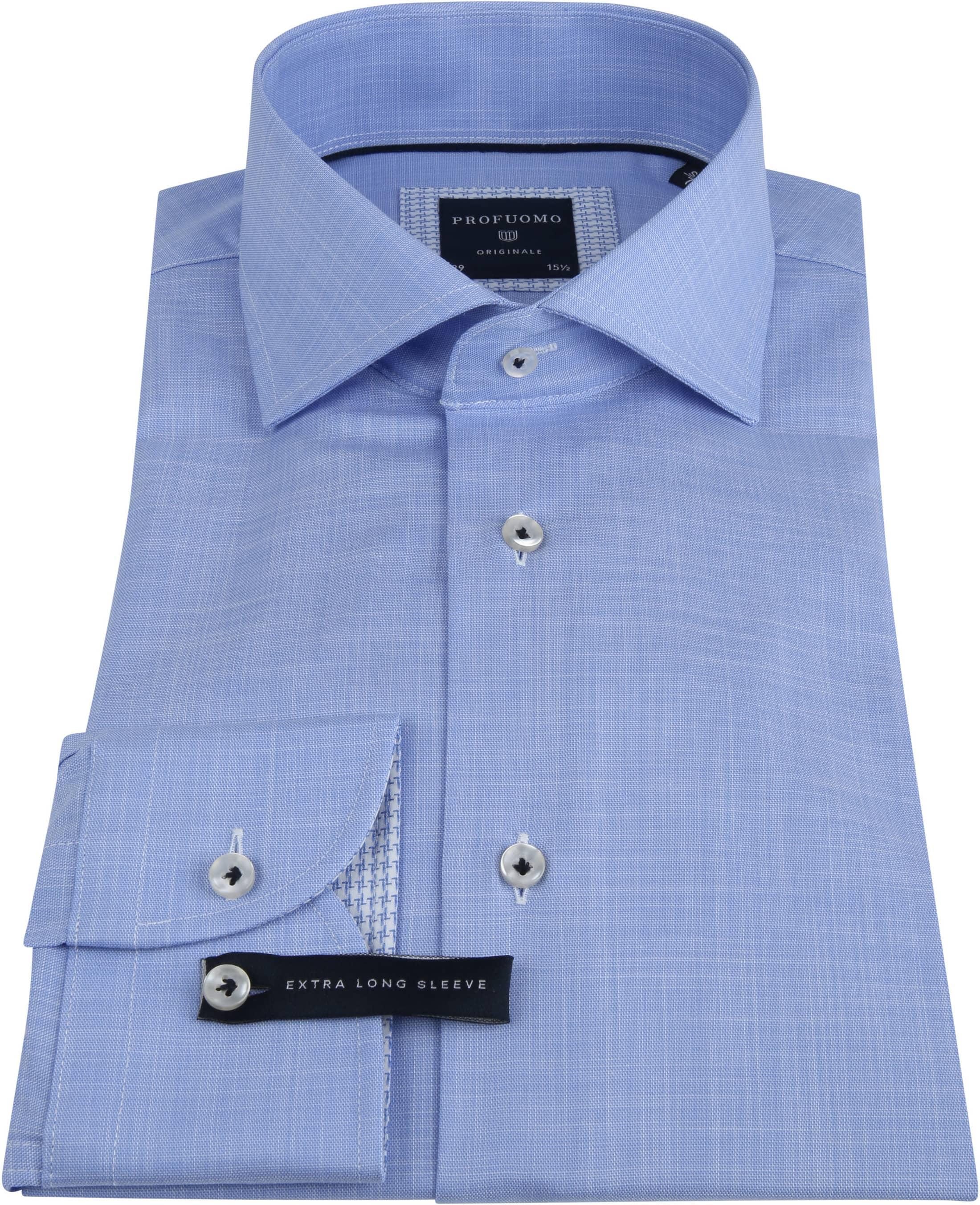 Profuomo Overhemd Melange Blauw SL7 foto 2