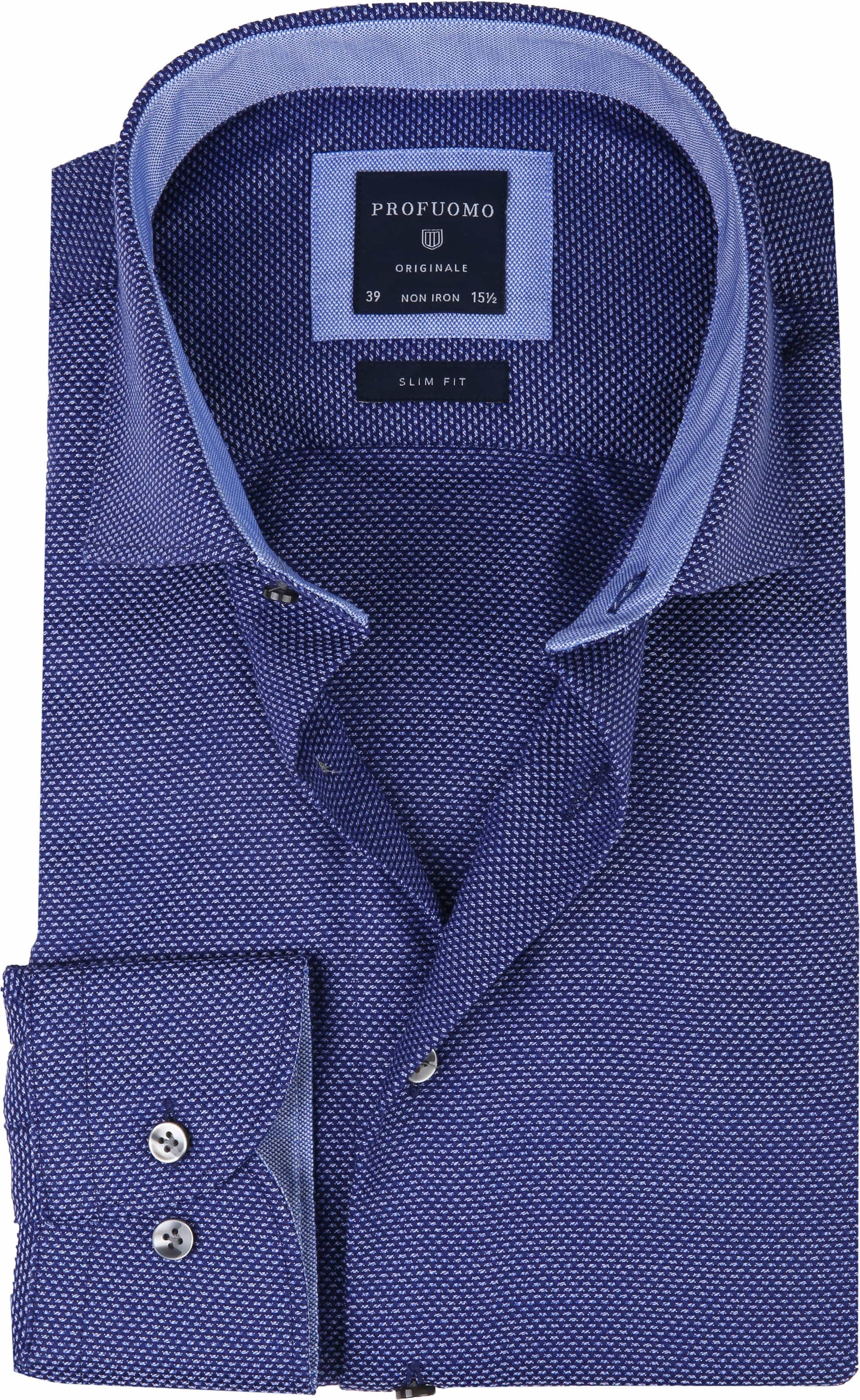 Profuomo Overhemd Oxford Navy Dessin foto 0