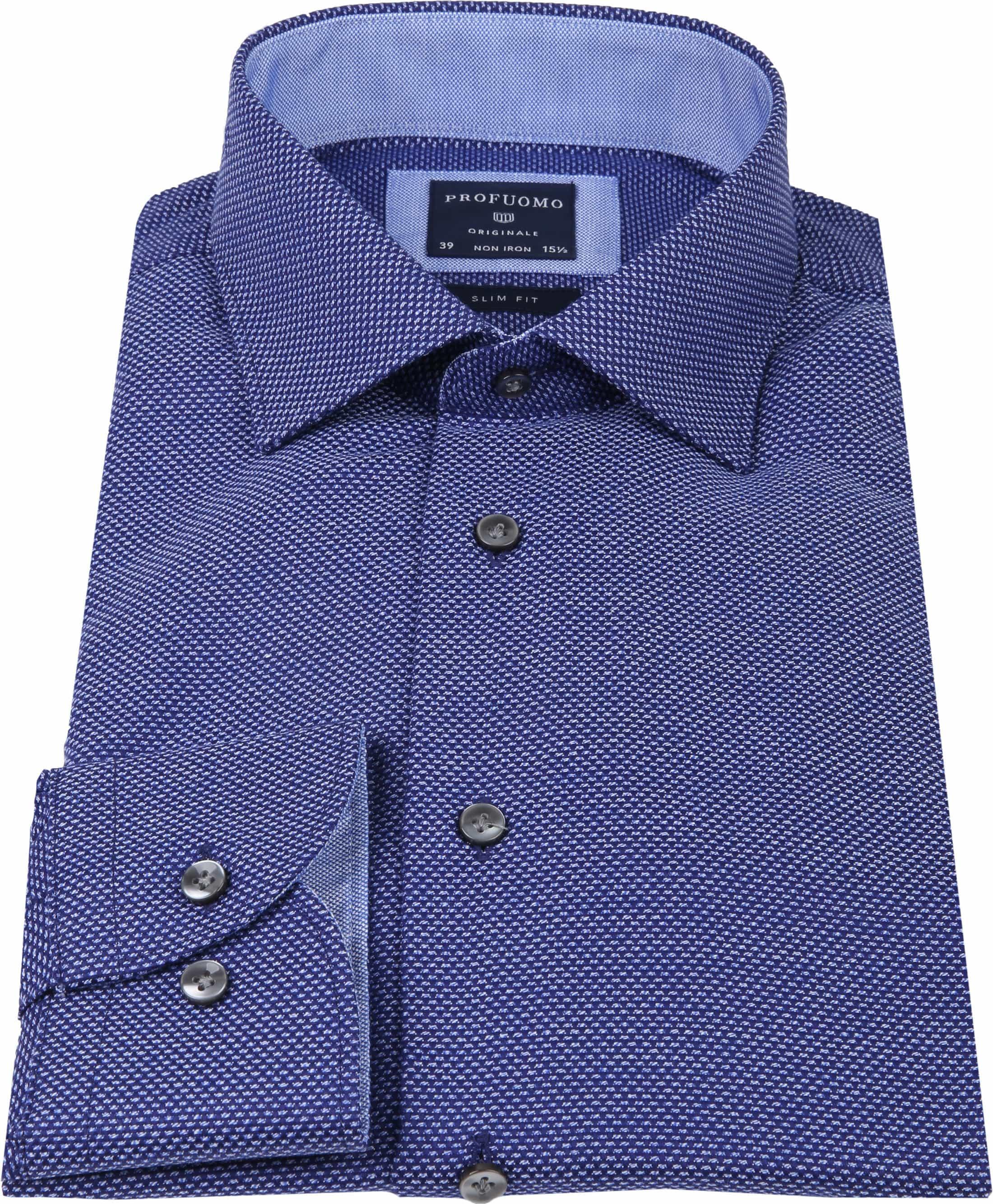 Profuomo Overhemd Oxford Navy Dessin foto 3