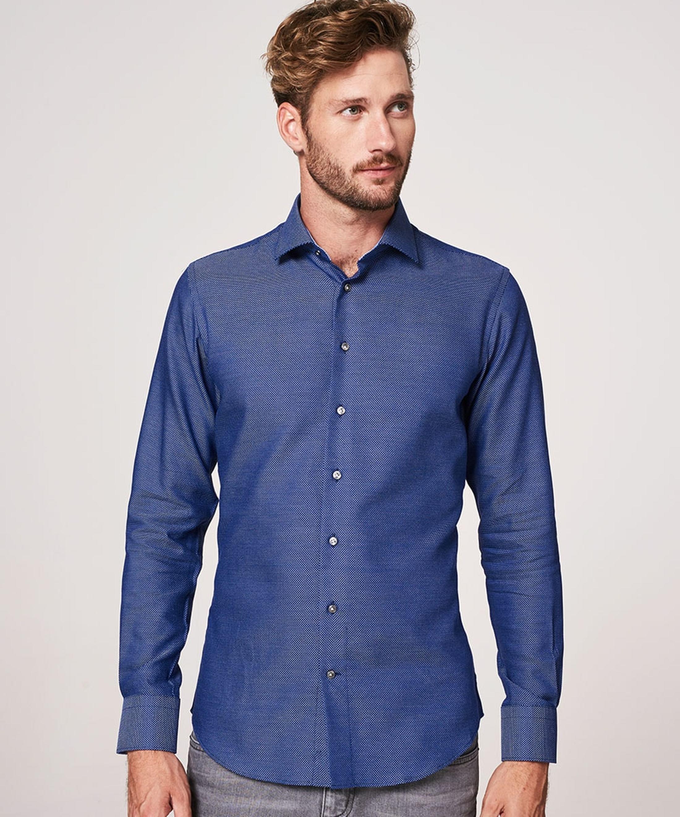 Profuomo Overhemd Oxford Navy Dessin foto 4