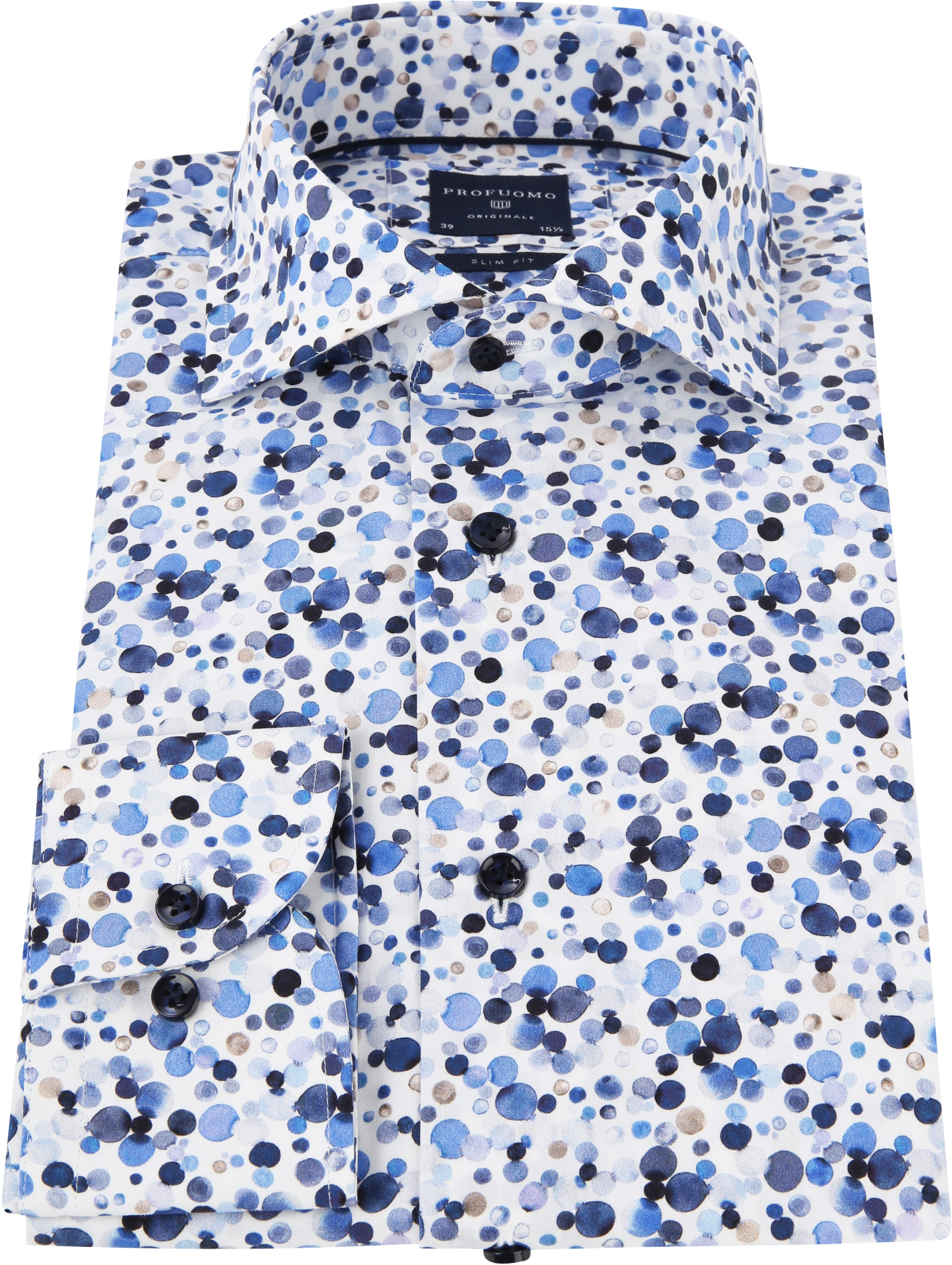 Profuomo Overhemd Polka Dot Blue photo 2