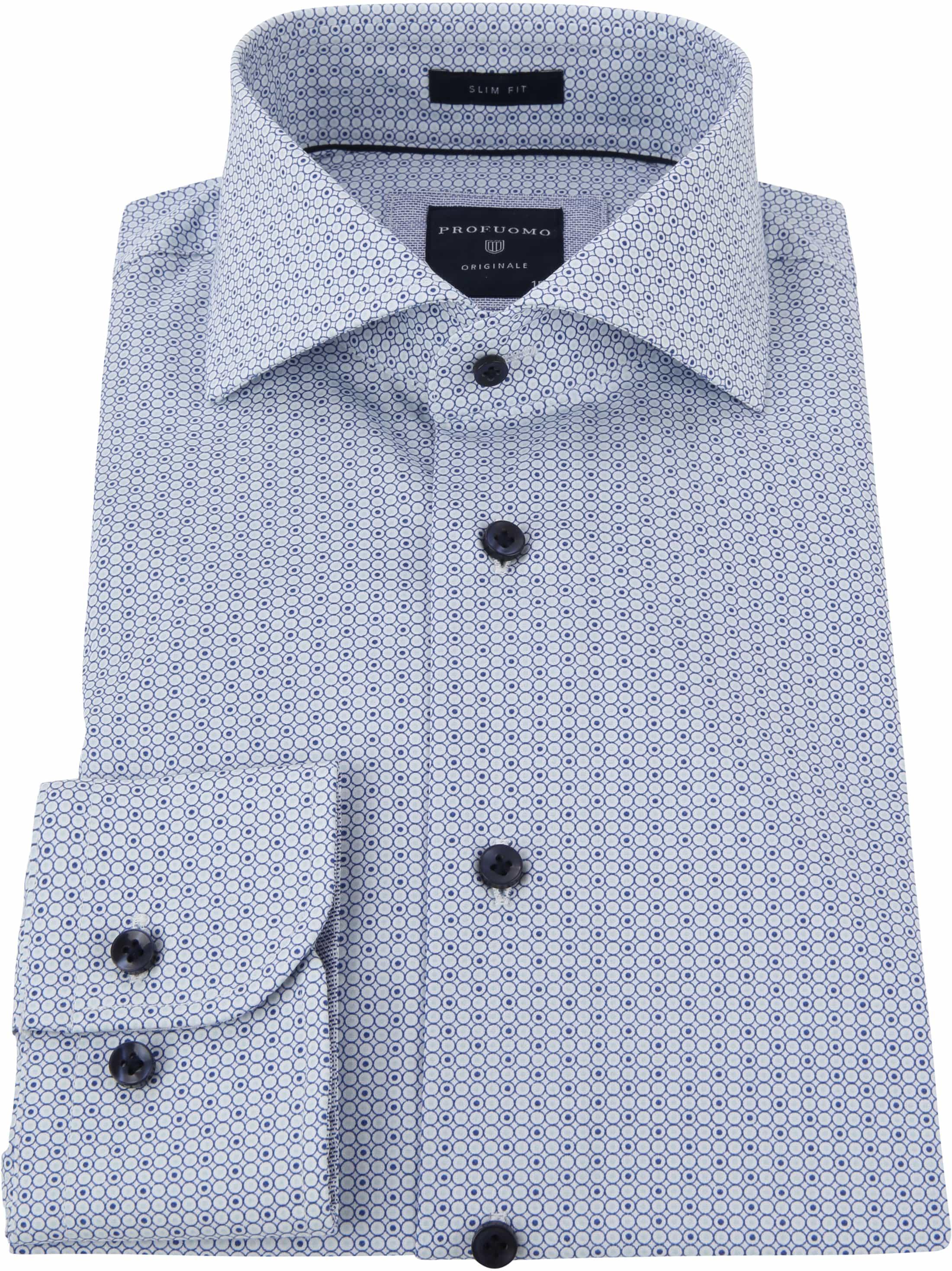 Profuomo Overhemd Print Blauw foto 3