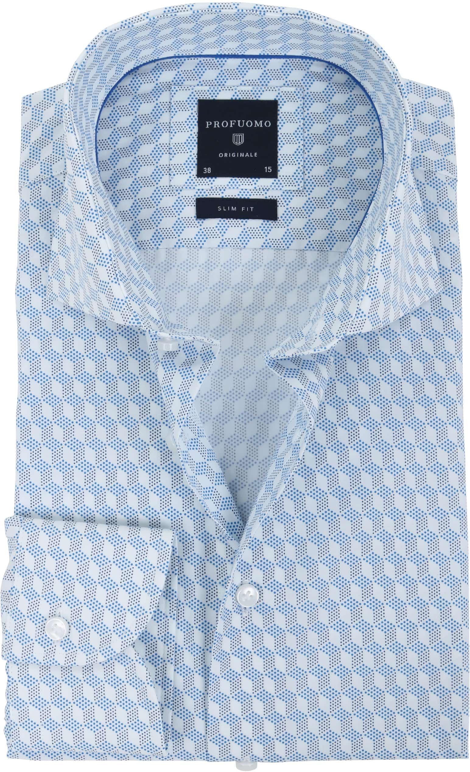 Profuomo Overhemd SF Dessin Blauw foto 0