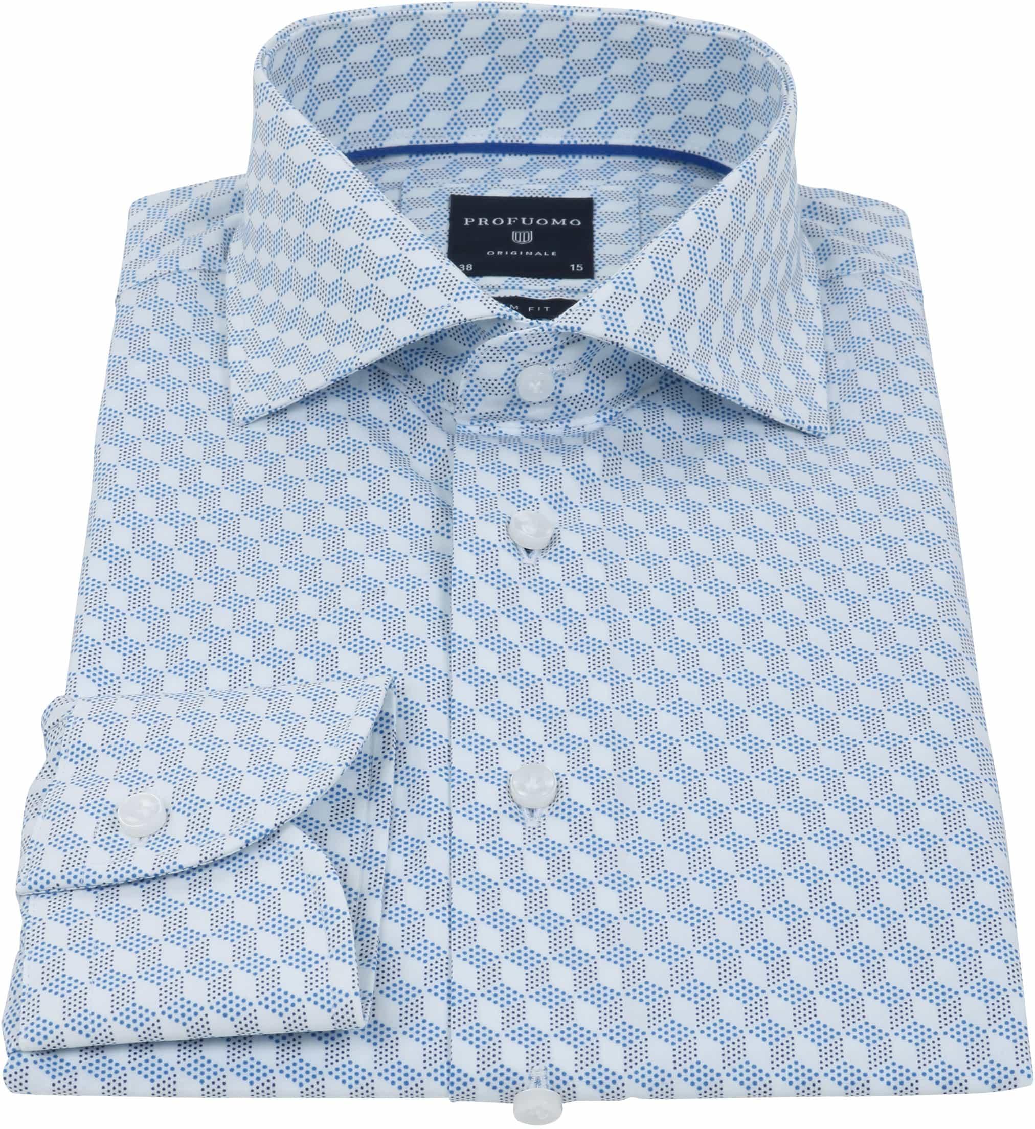 Profuomo Overhemd SF Dessin Blauw foto 2