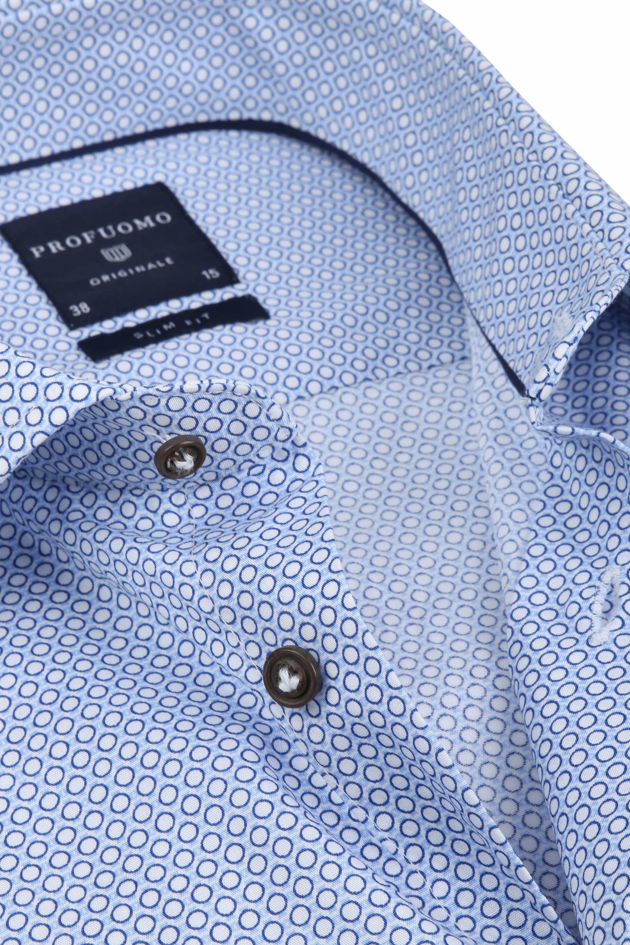 Profuomo Overhemd Slim-Fit Blauw Dessin foto 1