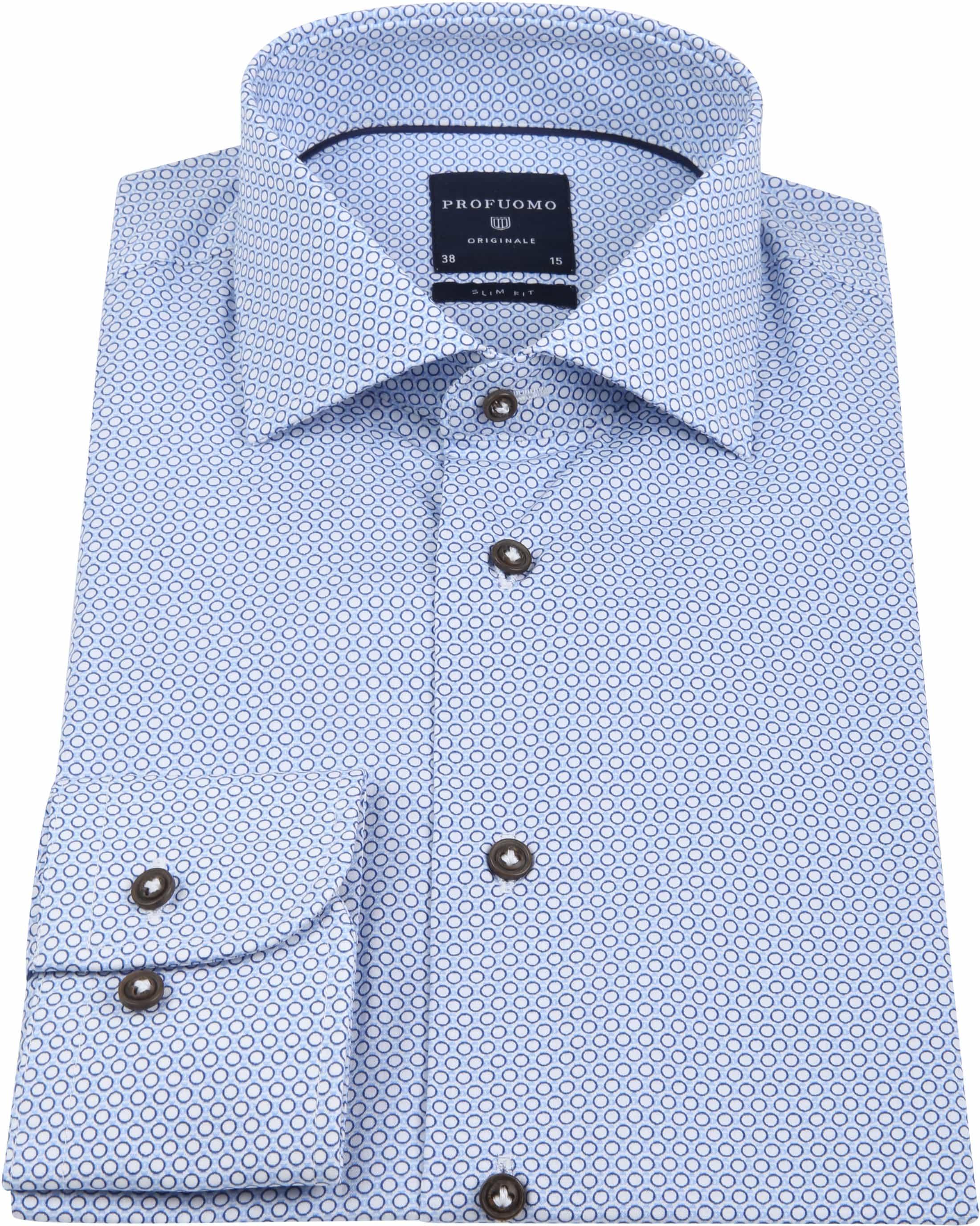 Profuomo Overhemd Slim-Fit Blauw Dessin foto 2