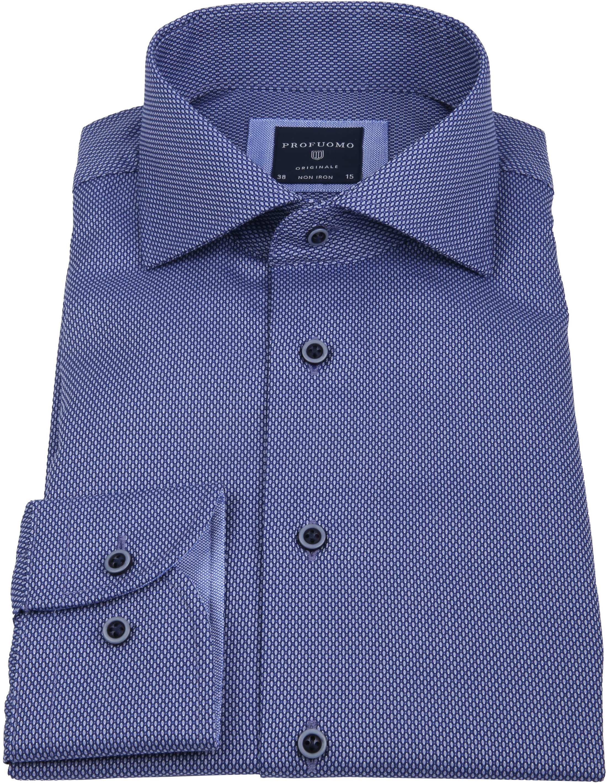 Profuomo Overhemd Slim-Fit Non Iron Blauw foto 3