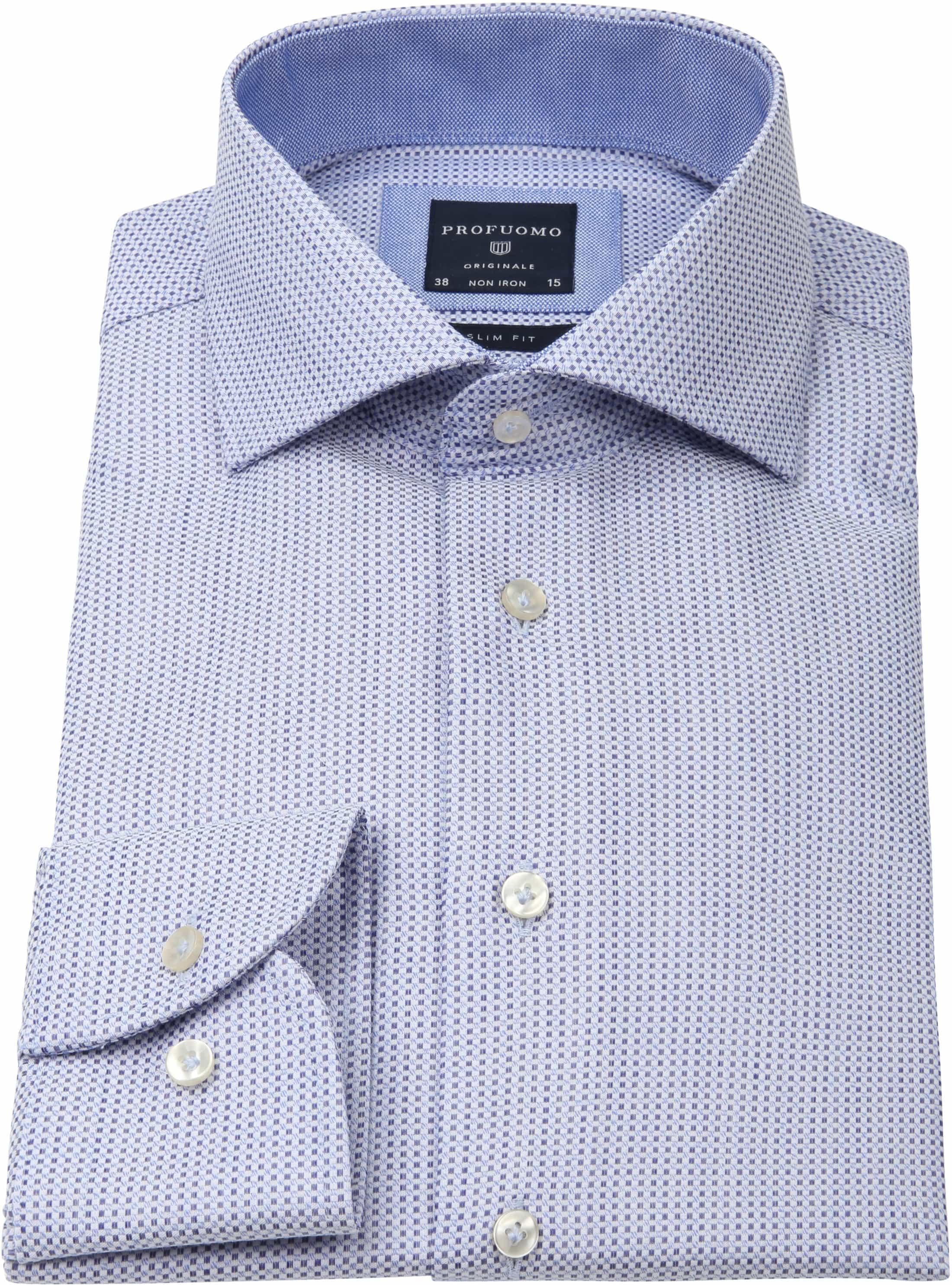 Profuomo Overhemd Slim-Fit Oxfort Blauw foto 2