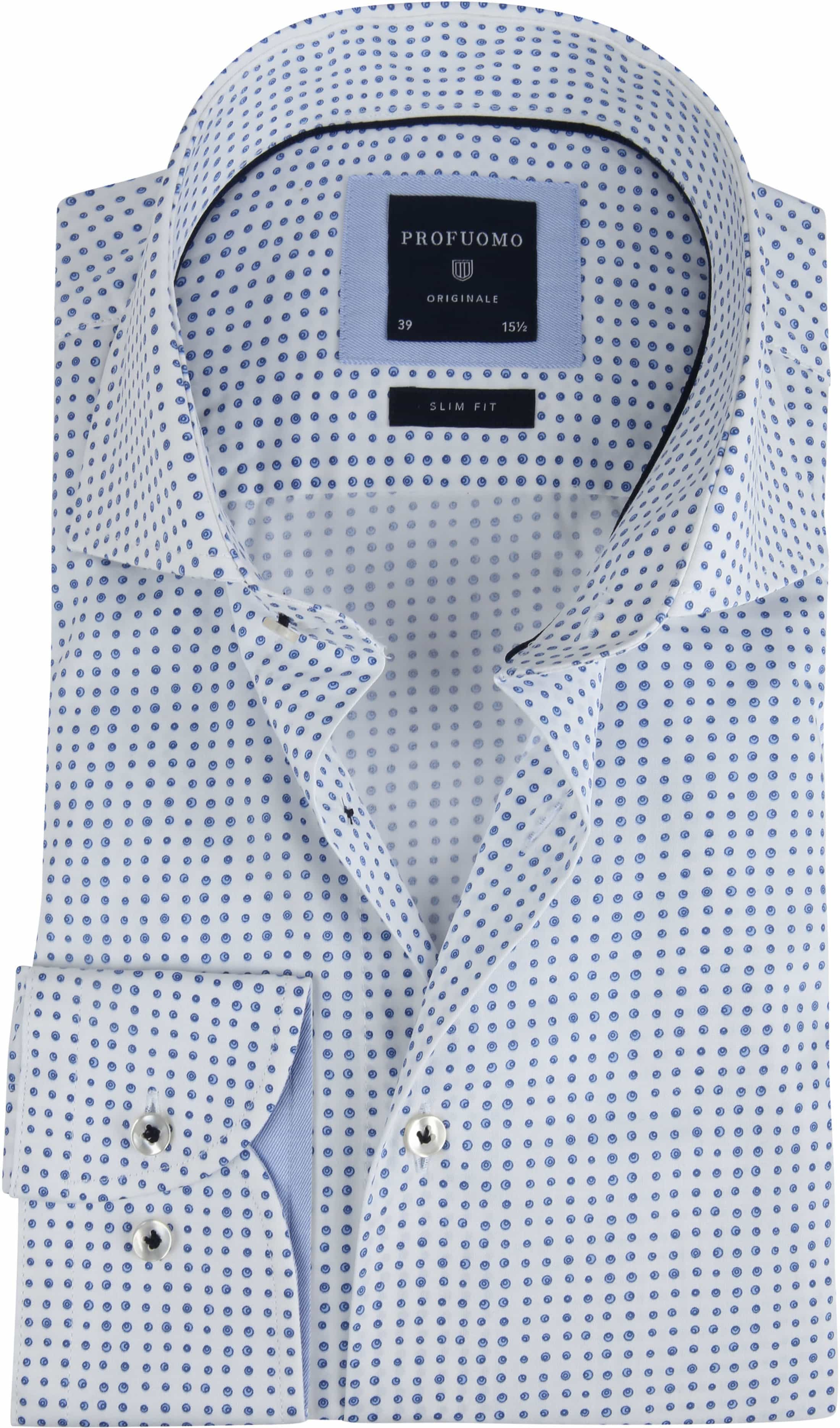 Profuomo Overhemd Stippen Blauw foto 0