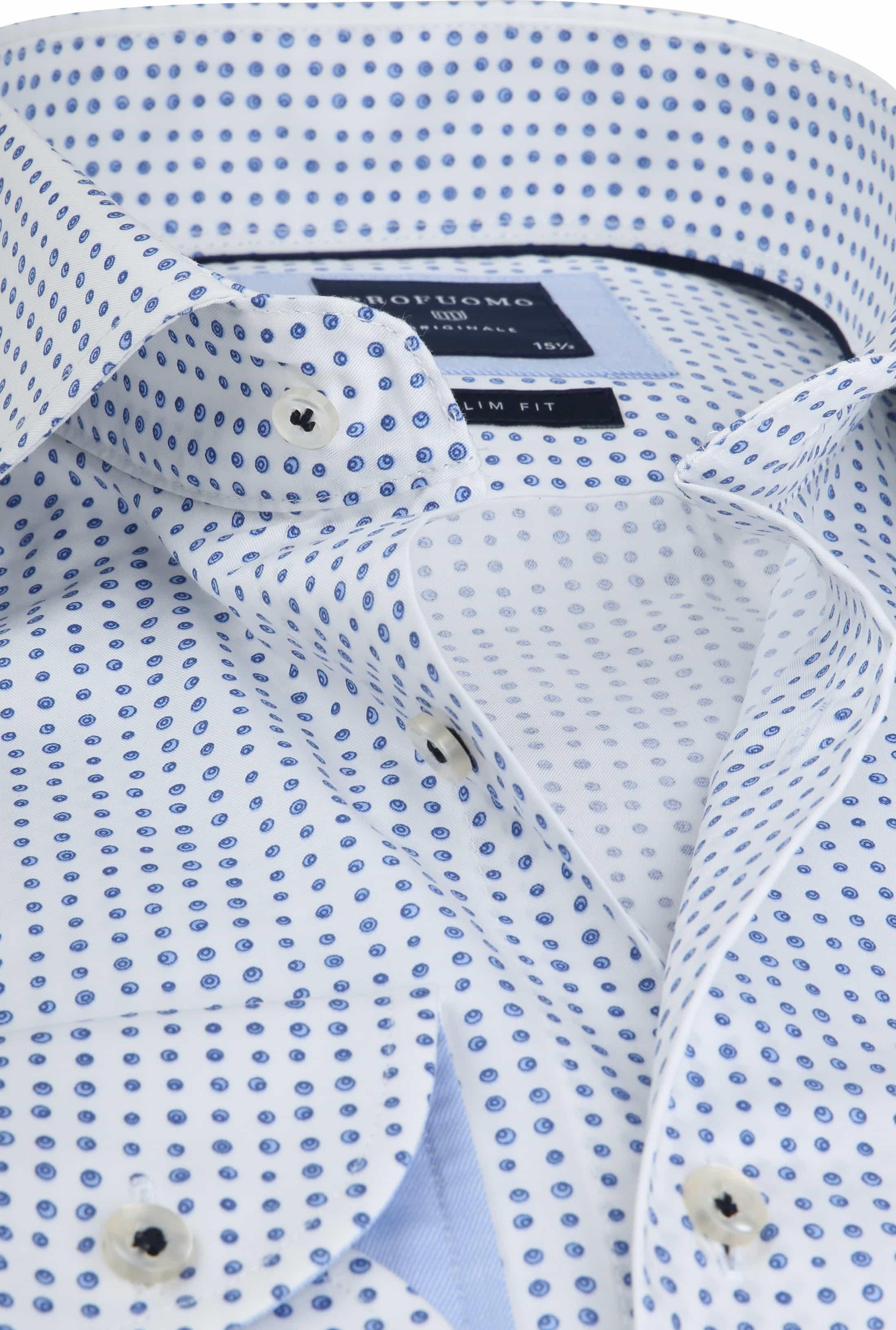 Profuomo Overhemd Stippen Blauw foto 1