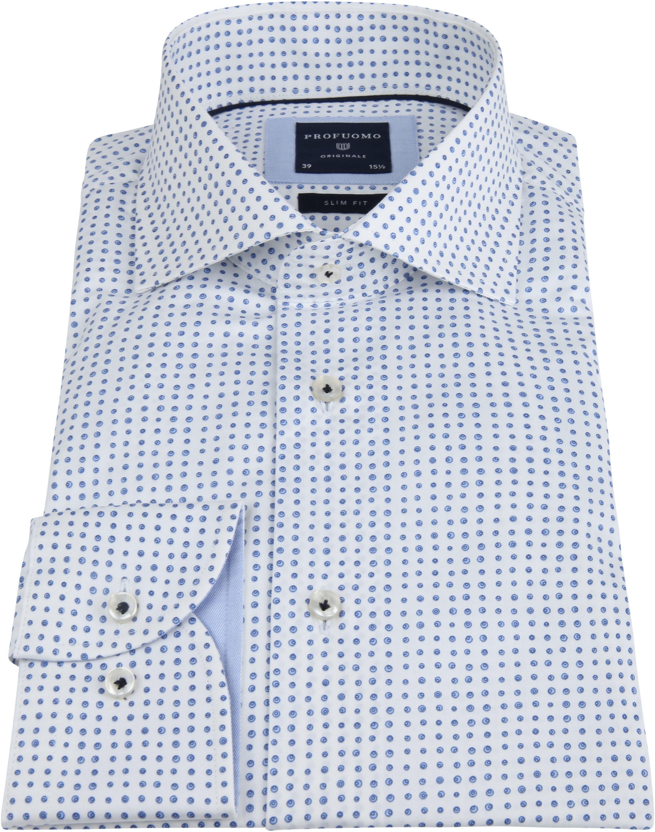 Profuomo Overhemd Stippen Blauw foto 2