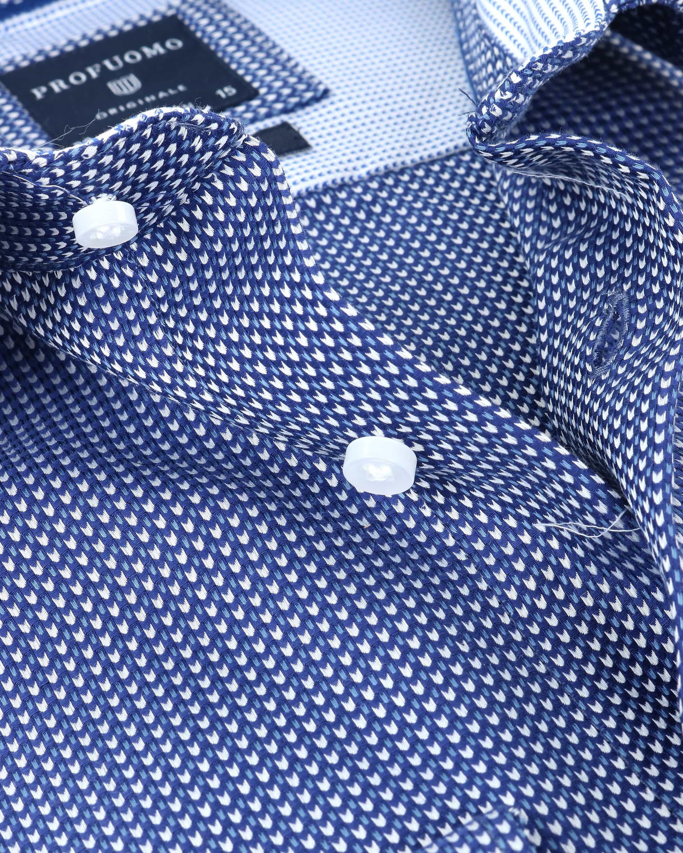Profuomo Overhemd Strijkvrij Navy foto 1