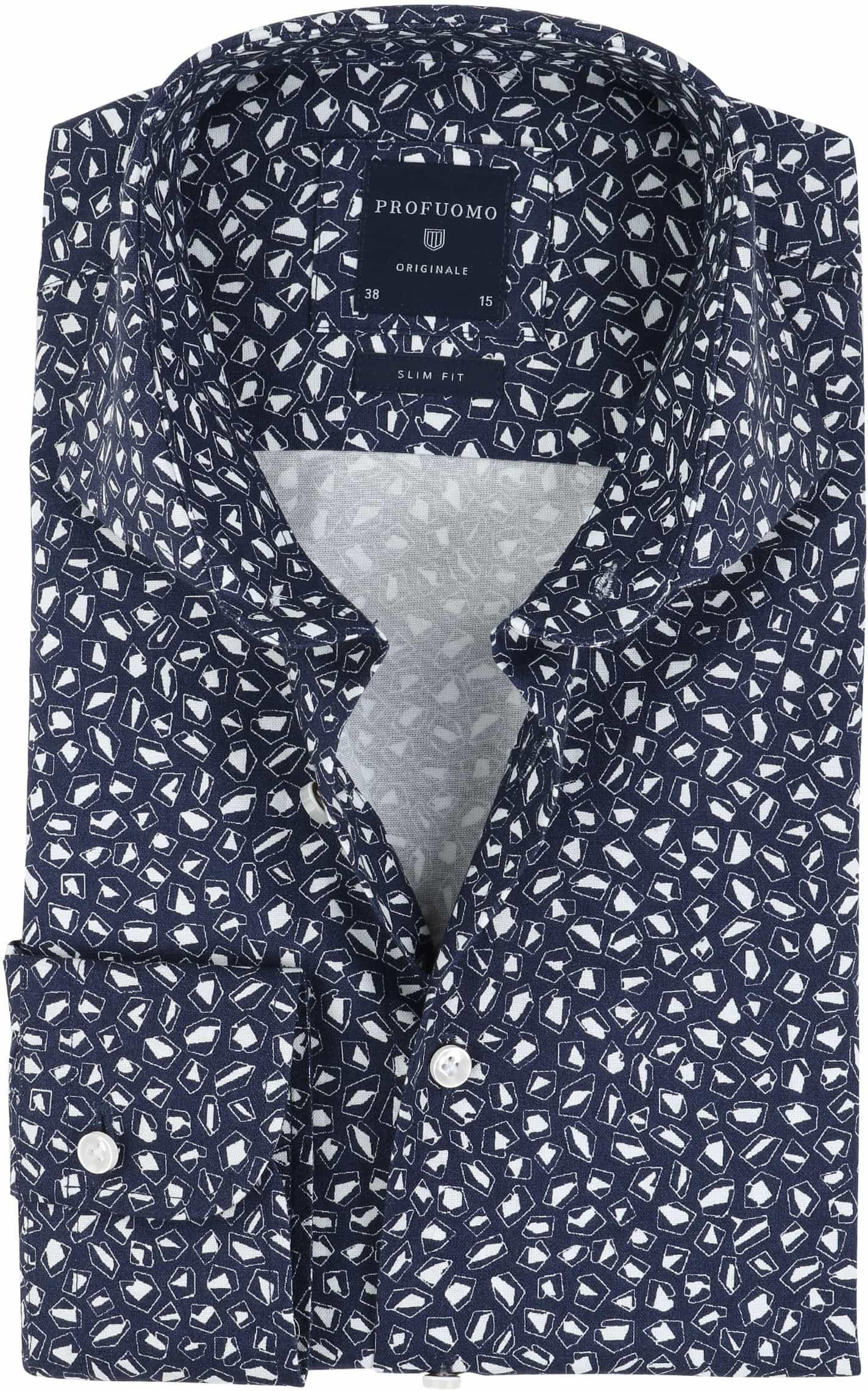 Profuomo Overhemd Strijkvrij Navy Dessin foto 0