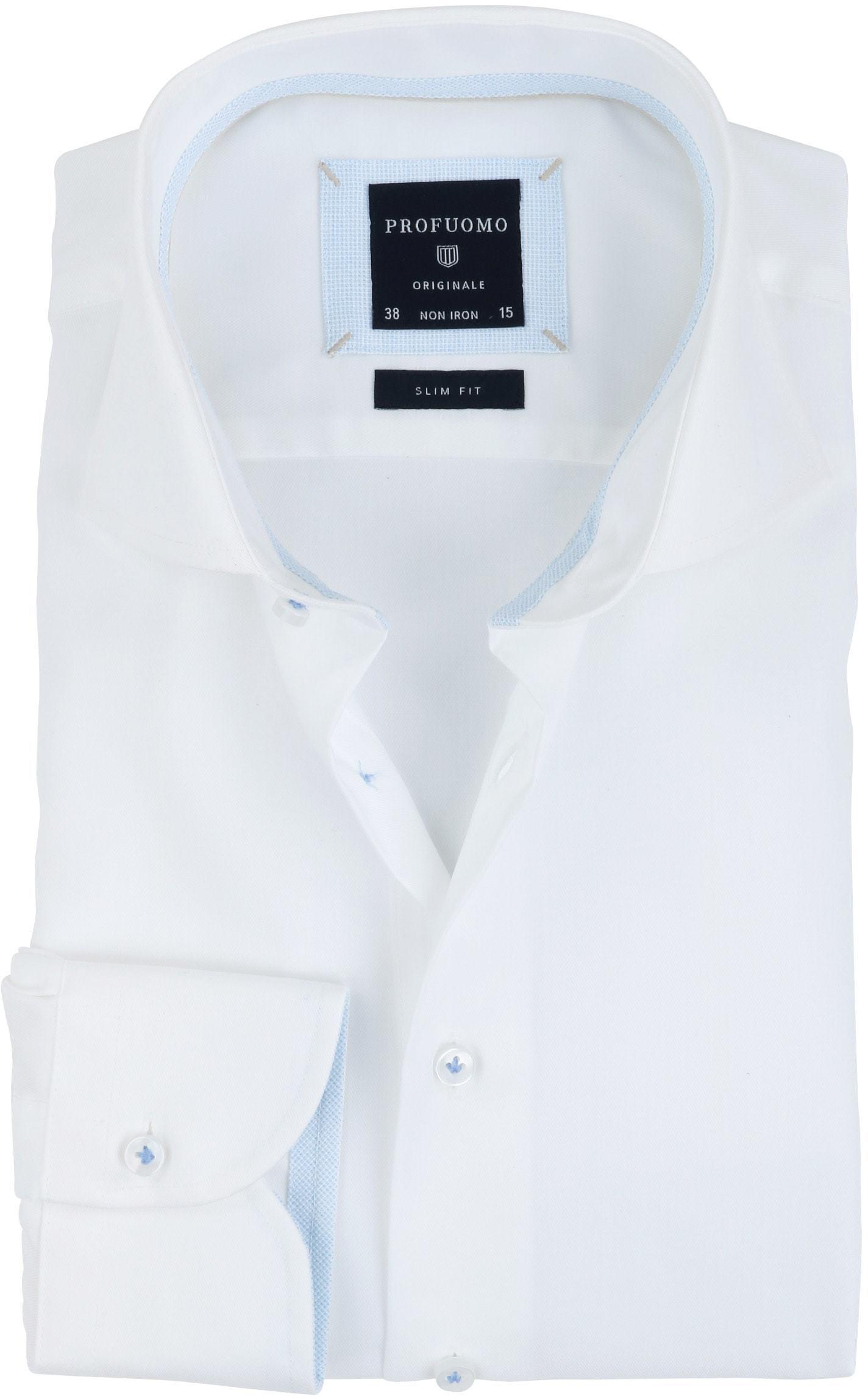 Profuomo Overhemd Strijkvrij Wit Blauw foto 0