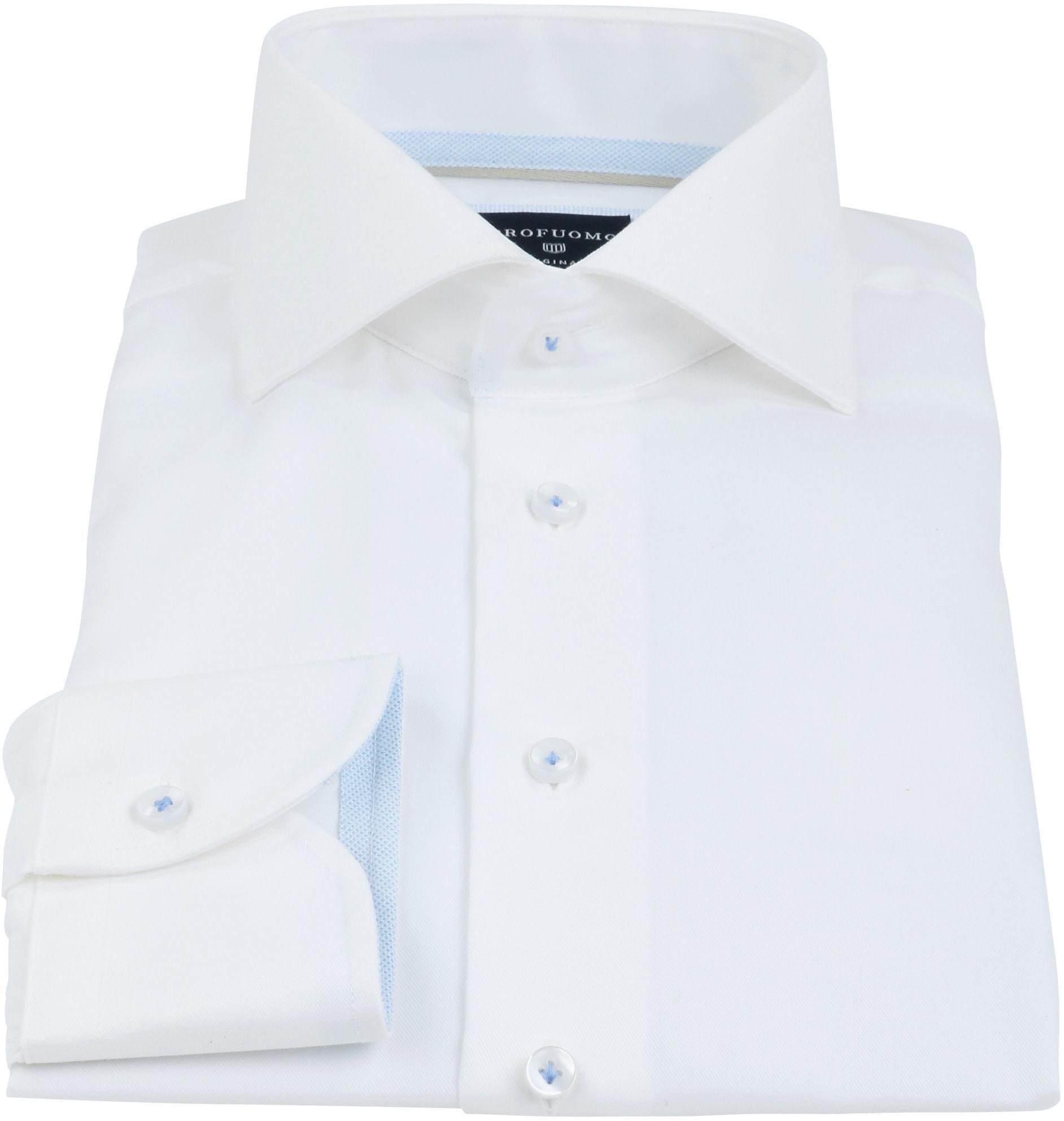 Profuomo Overhemd Strijkvrij Wit Blauw foto 2