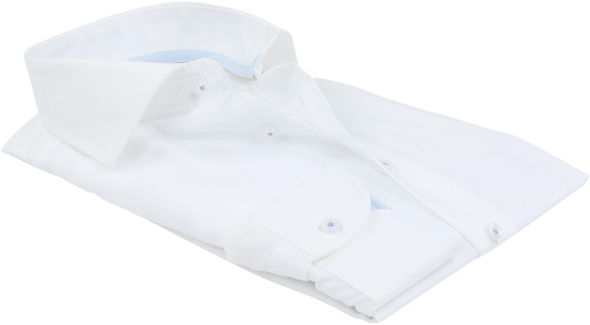 Profuomo Overhemd Strijkvrij Wit Blauw foto 3