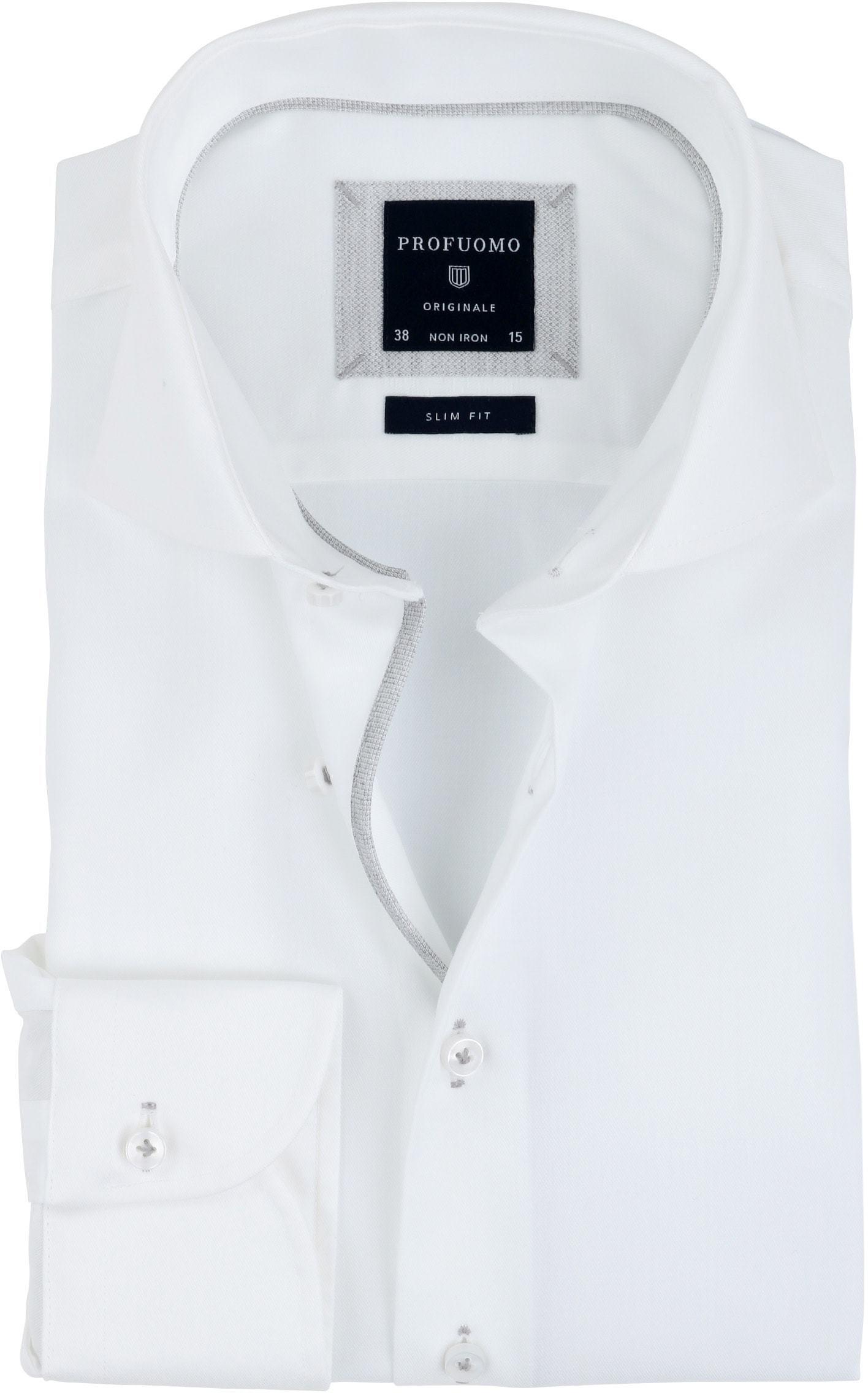 Profuomo Overhemd Strijkvrij Wit Grijs foto 0