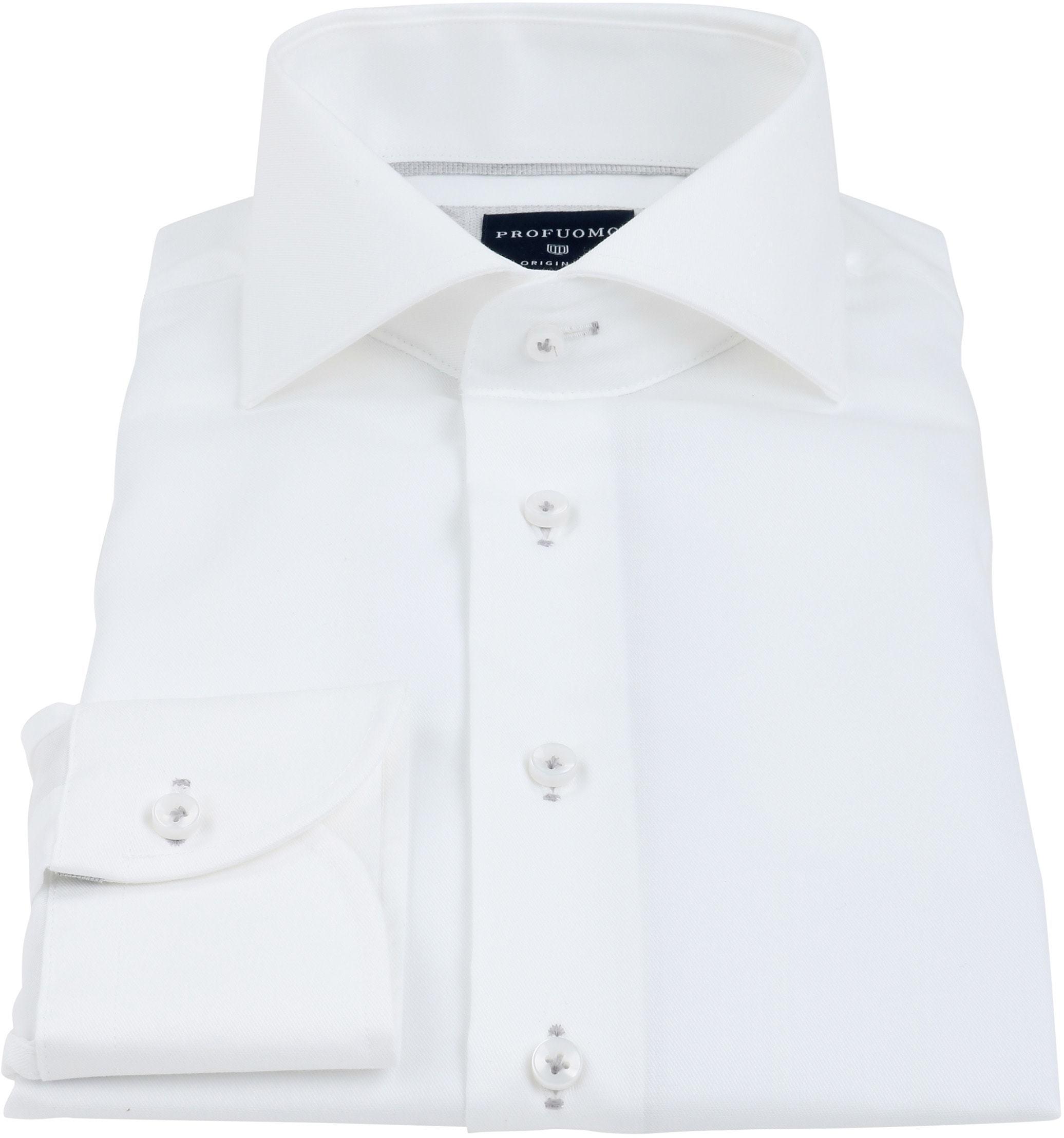 Profuomo Overhemd Strijkvrij Wit Grijs foto 2