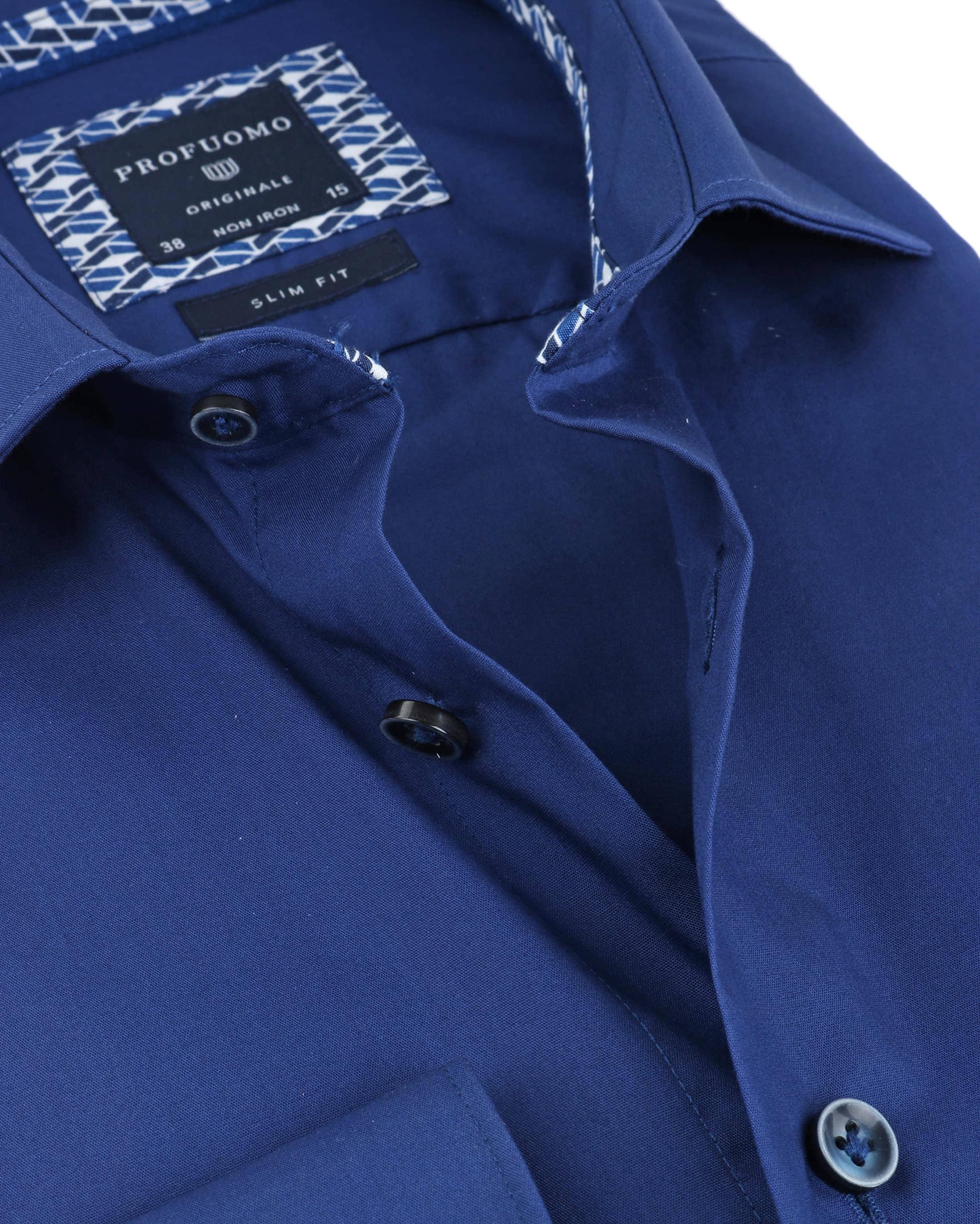 Profuomo Overhemd Uni Blauw Non Iron foto 1