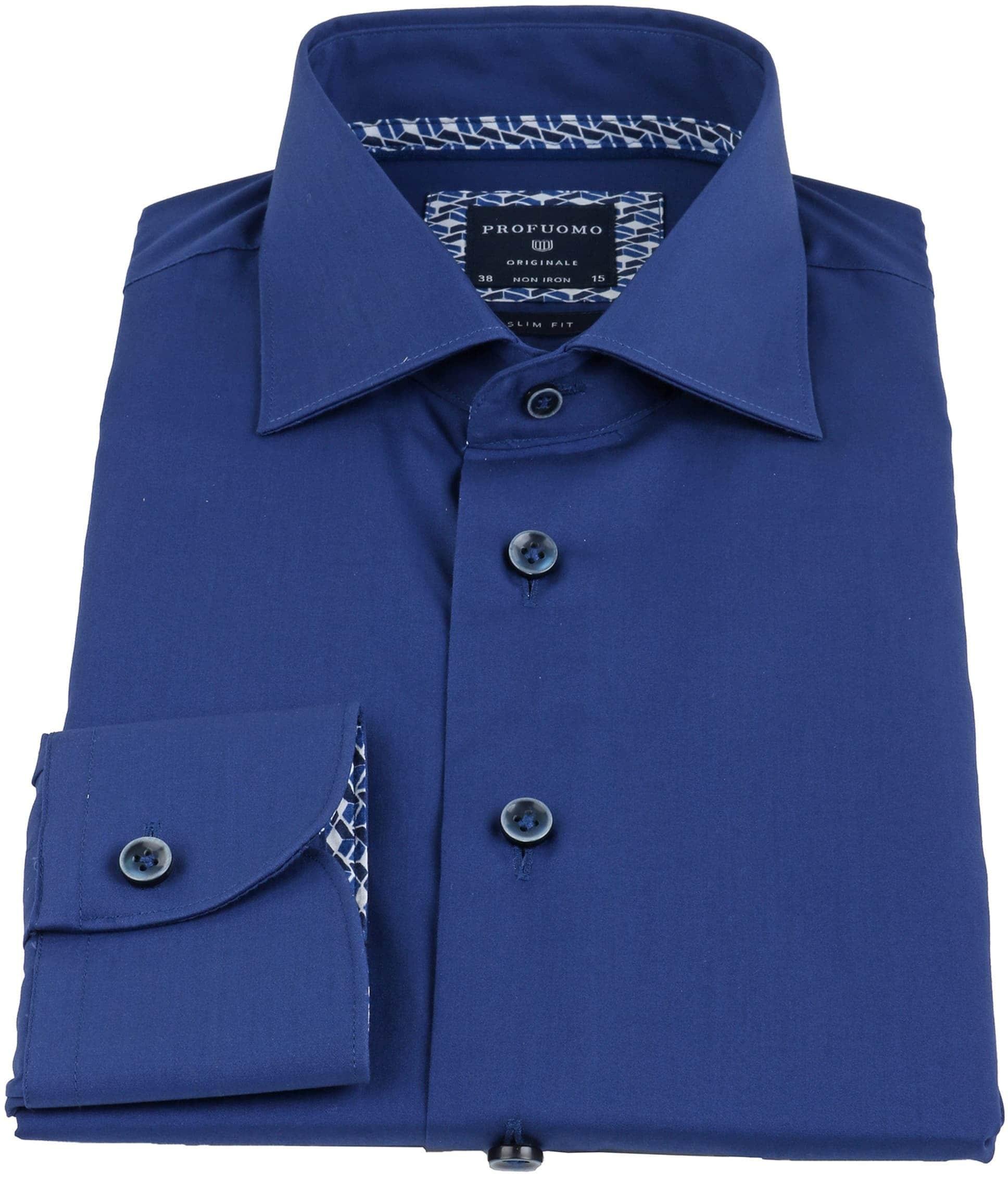 Profuomo Overhemd Uni Blauw Non Iron foto 2