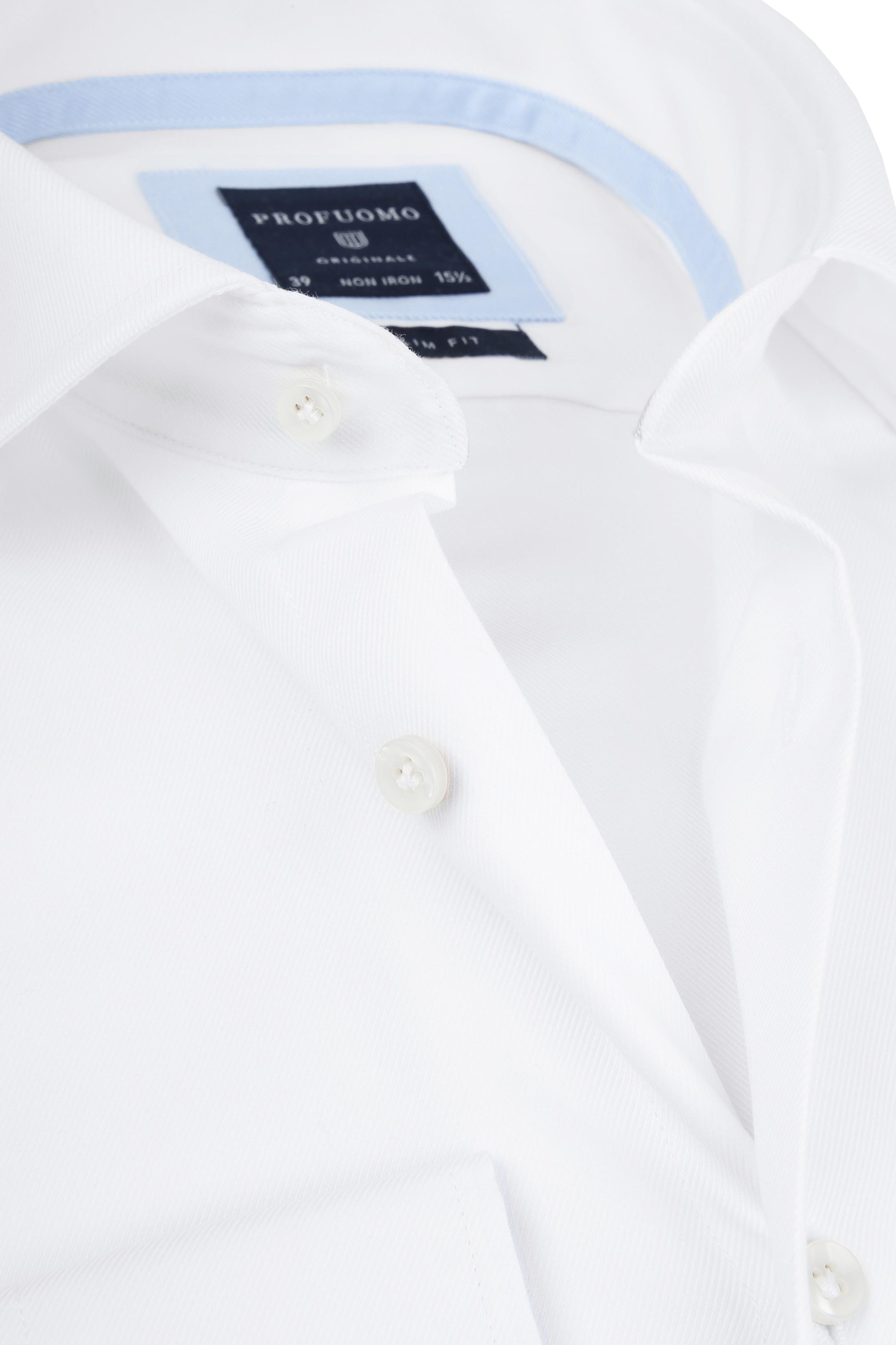 Profuomo Overhemd Wit Blauw Accent foto 1