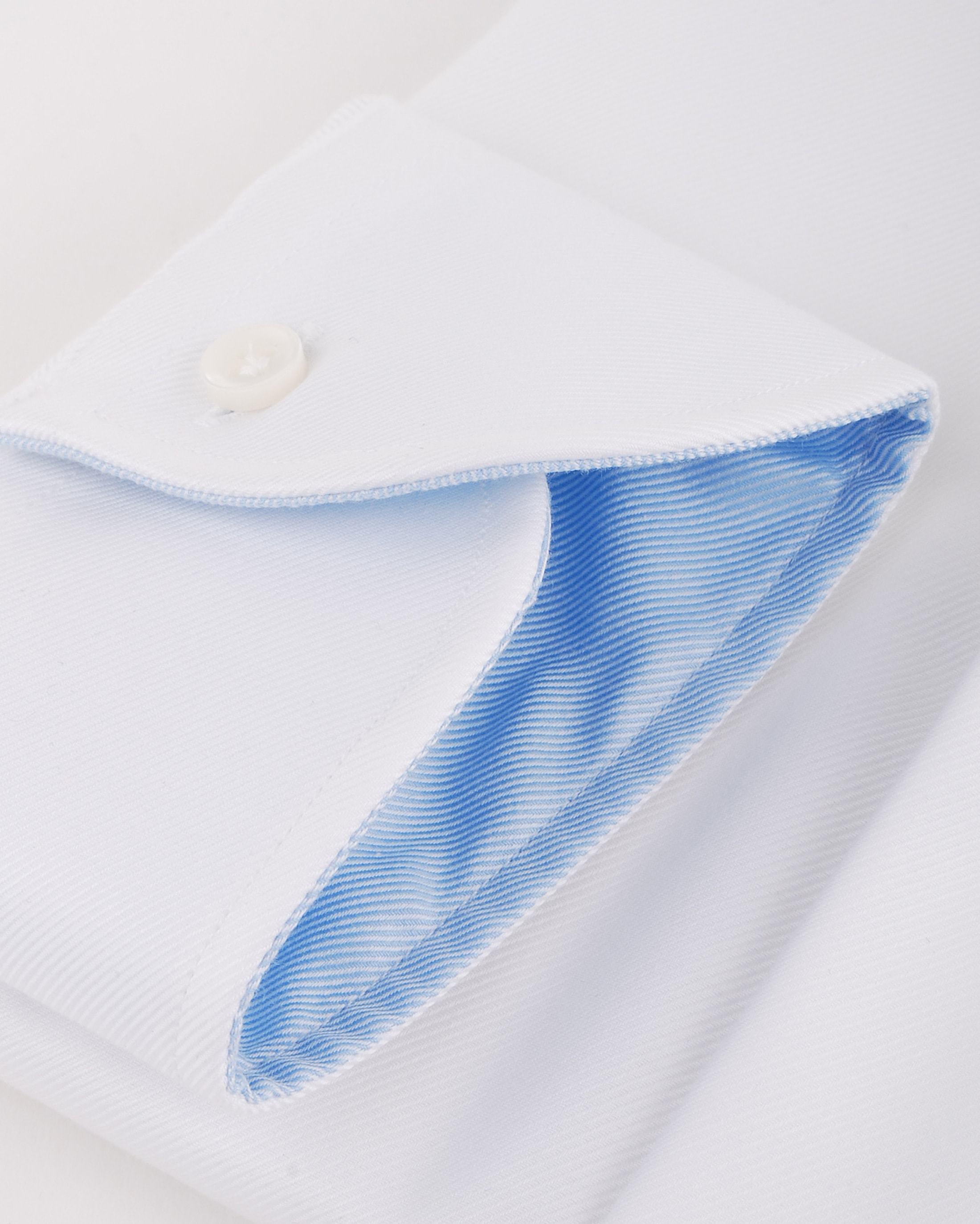 Profuomo Overhemd Wit + Blauw Contrast foto 2