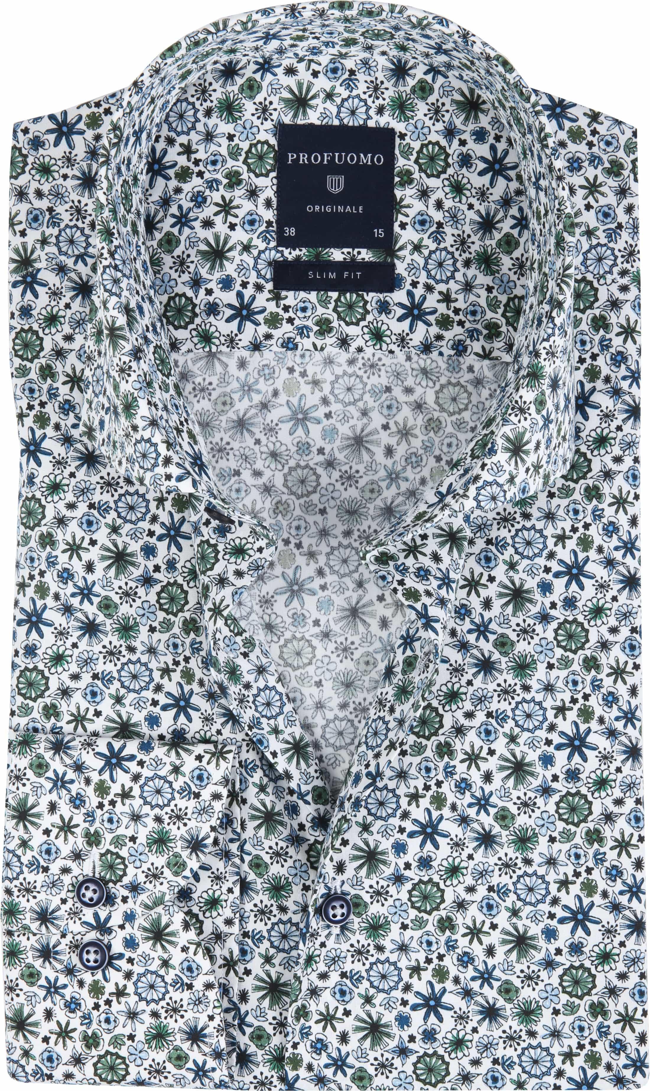 Profuomo Overhemd Wit Dessin Groen foto 0