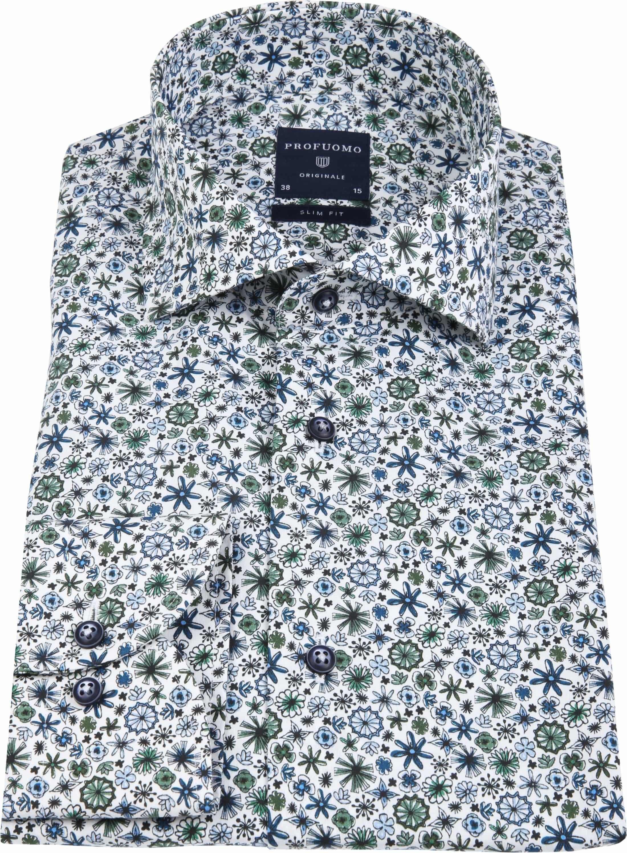Profuomo Overhemd Wit Dessin Groen foto 3