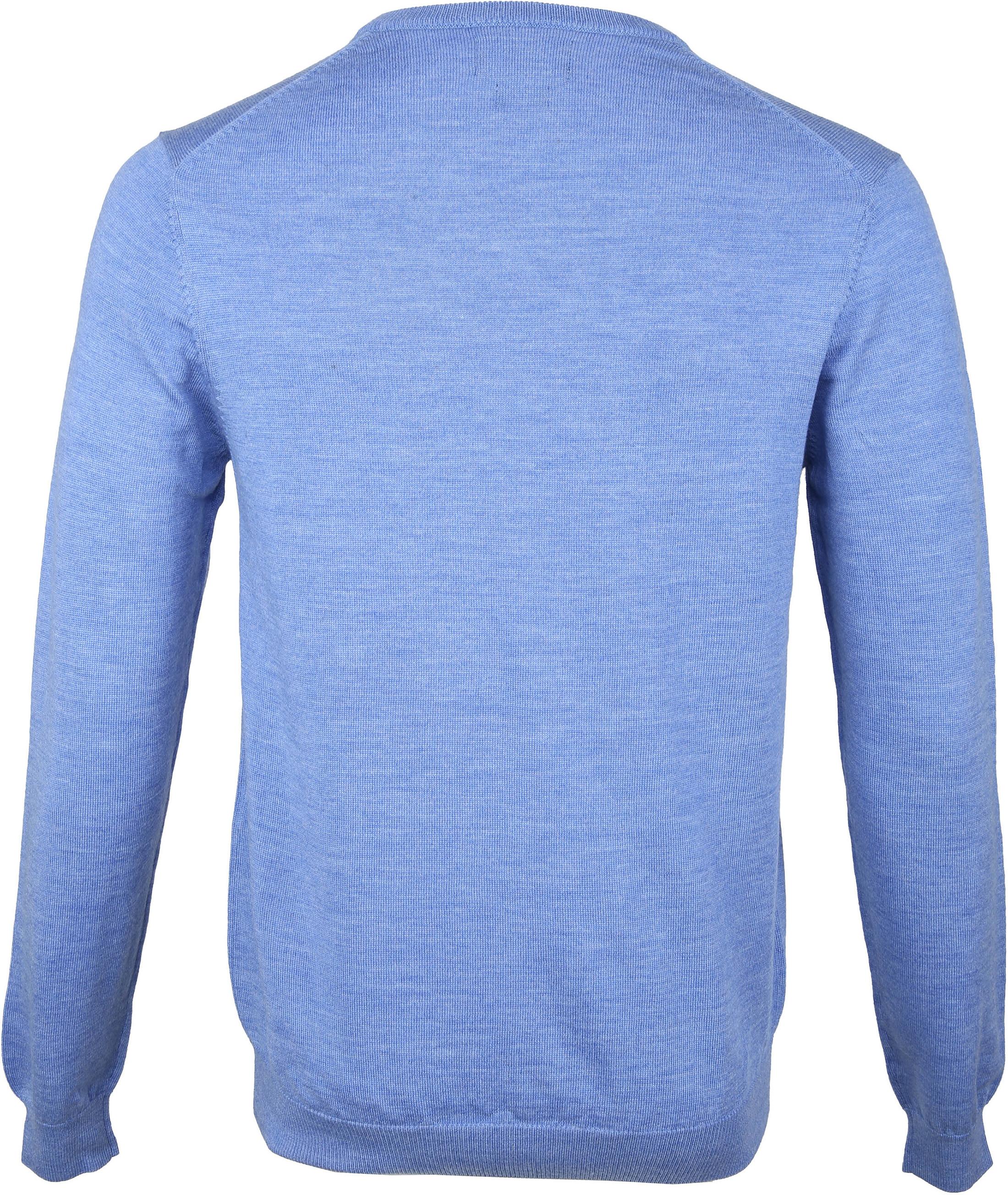 Profuomo Pullover Merino V-Hals Blauw foto 2