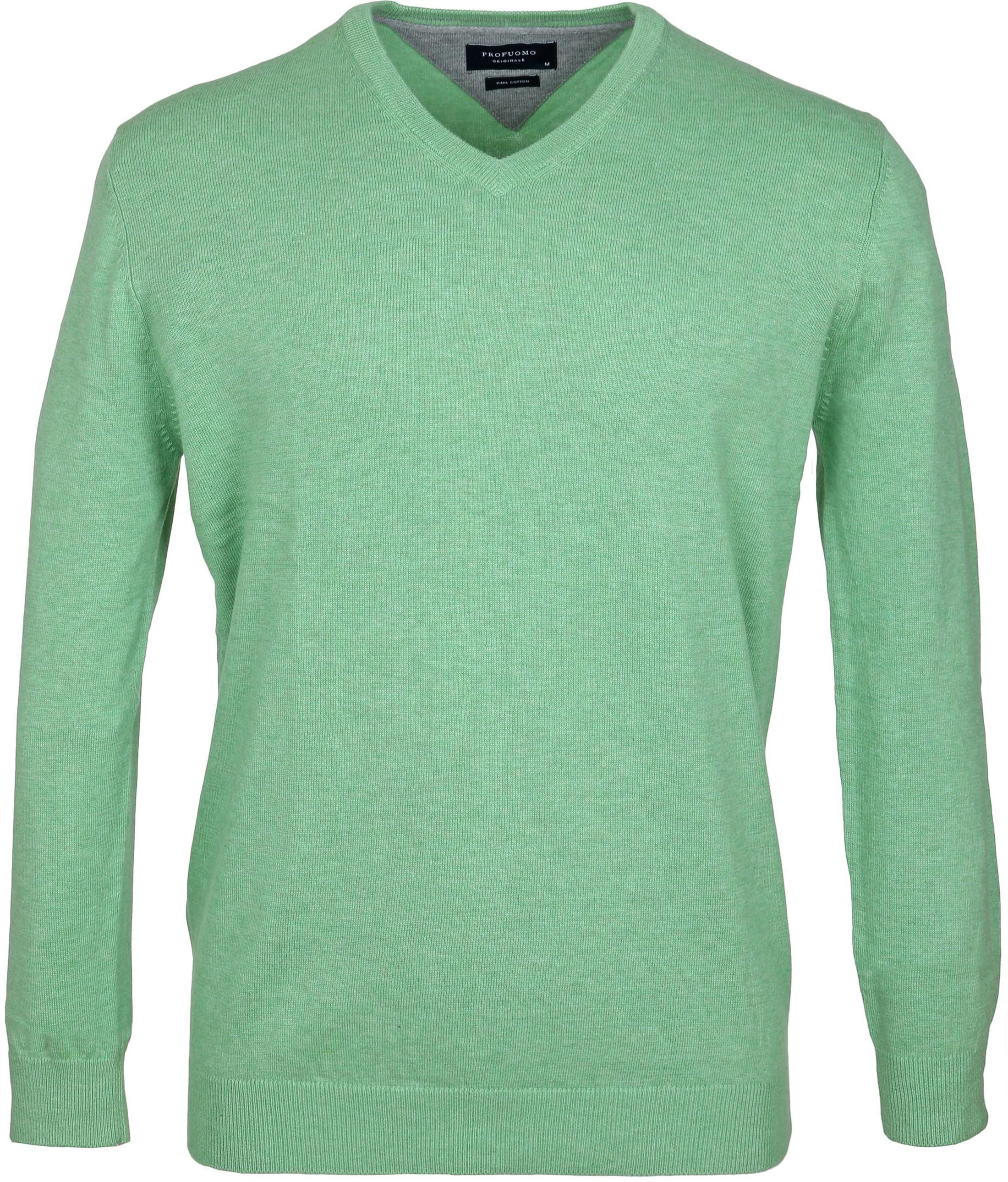 Profuomo Pullover V-Hals Groen foto 0