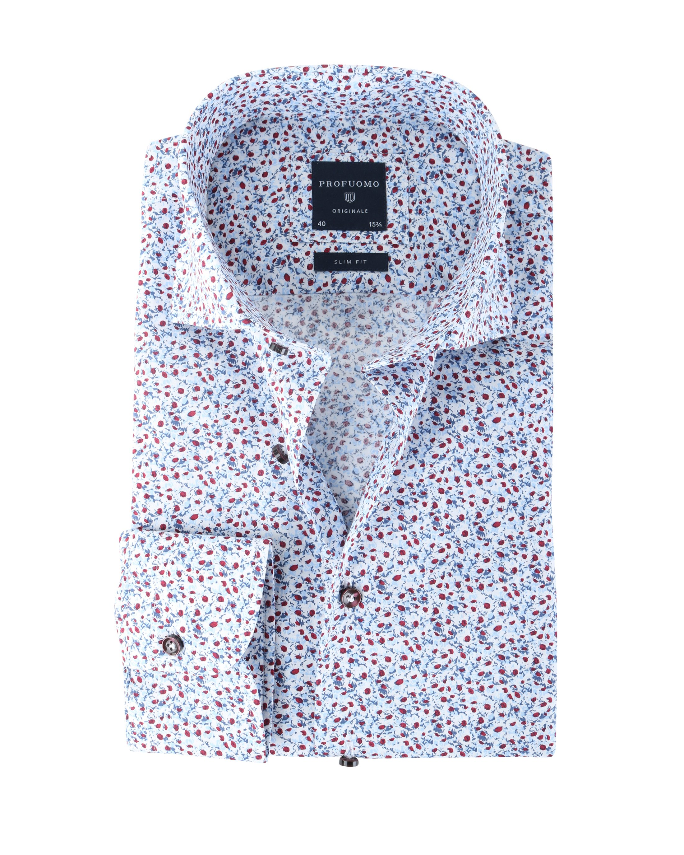 Profuomo Shirt Blue Red Flower foto 0