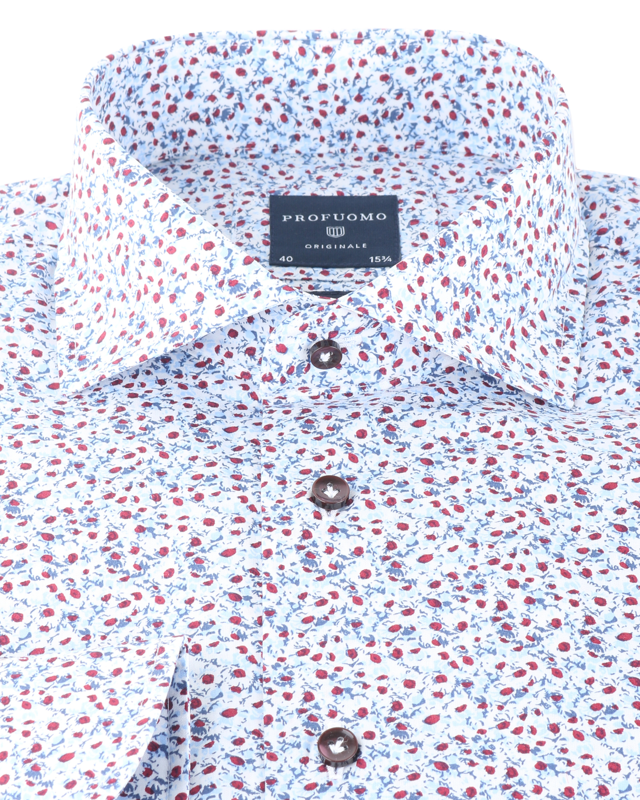 Profuomo Shirt Blue Red Flower foto 1