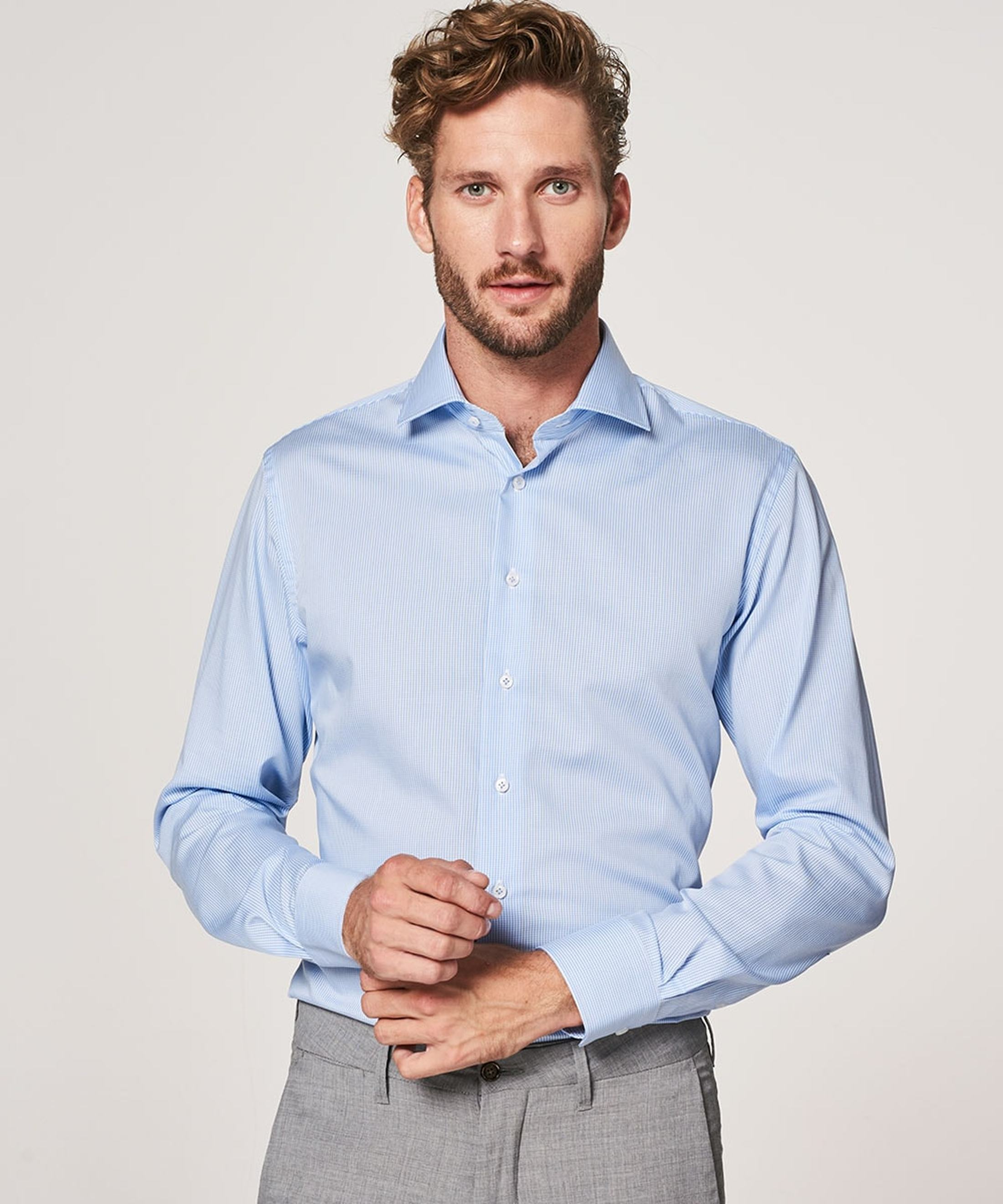 Profuomo Shirt Cutaway Blue Checks foto 4